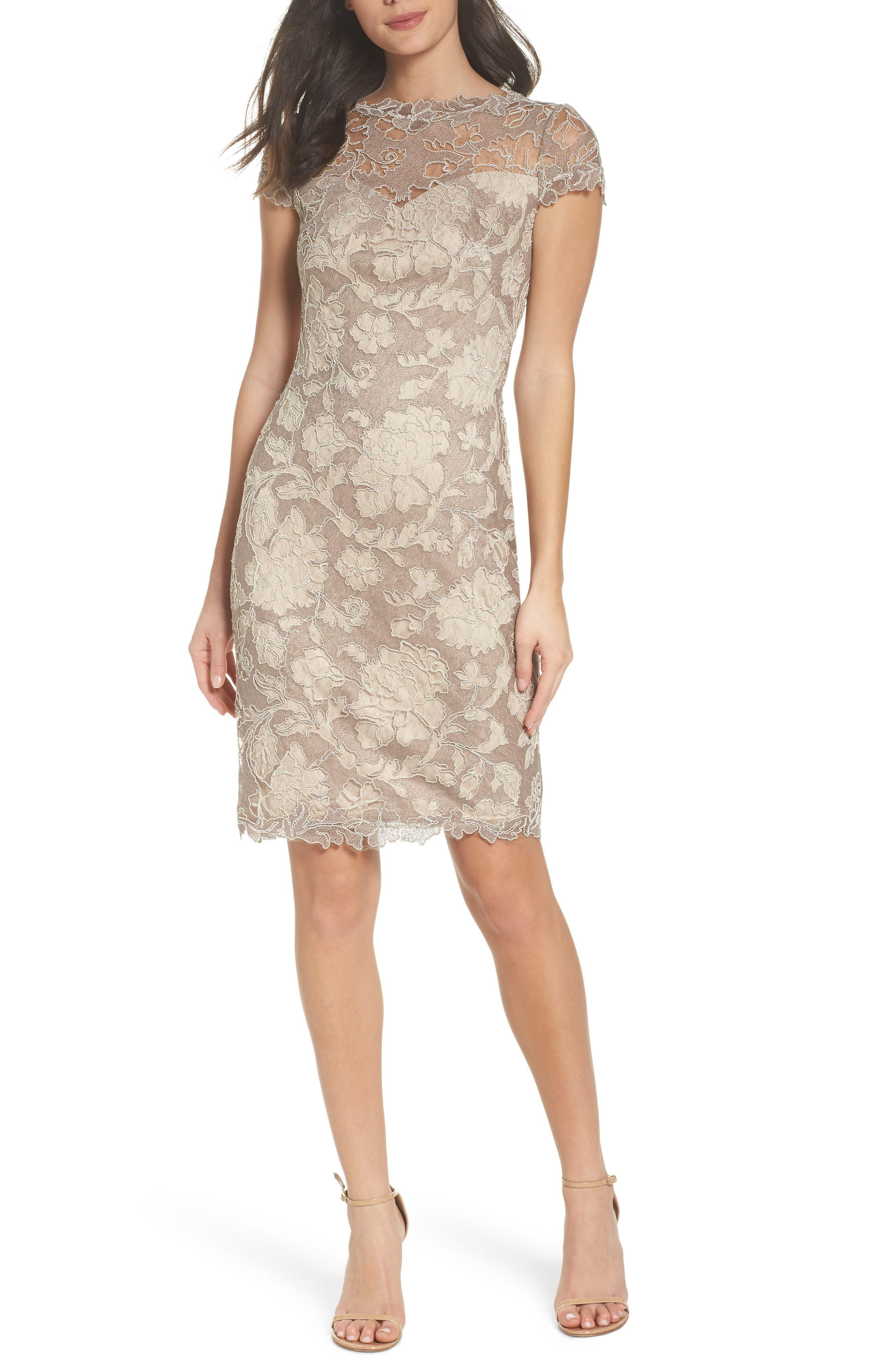 Embroidered Lace Sheath Dress,                         Main,                         color, Sandcastle