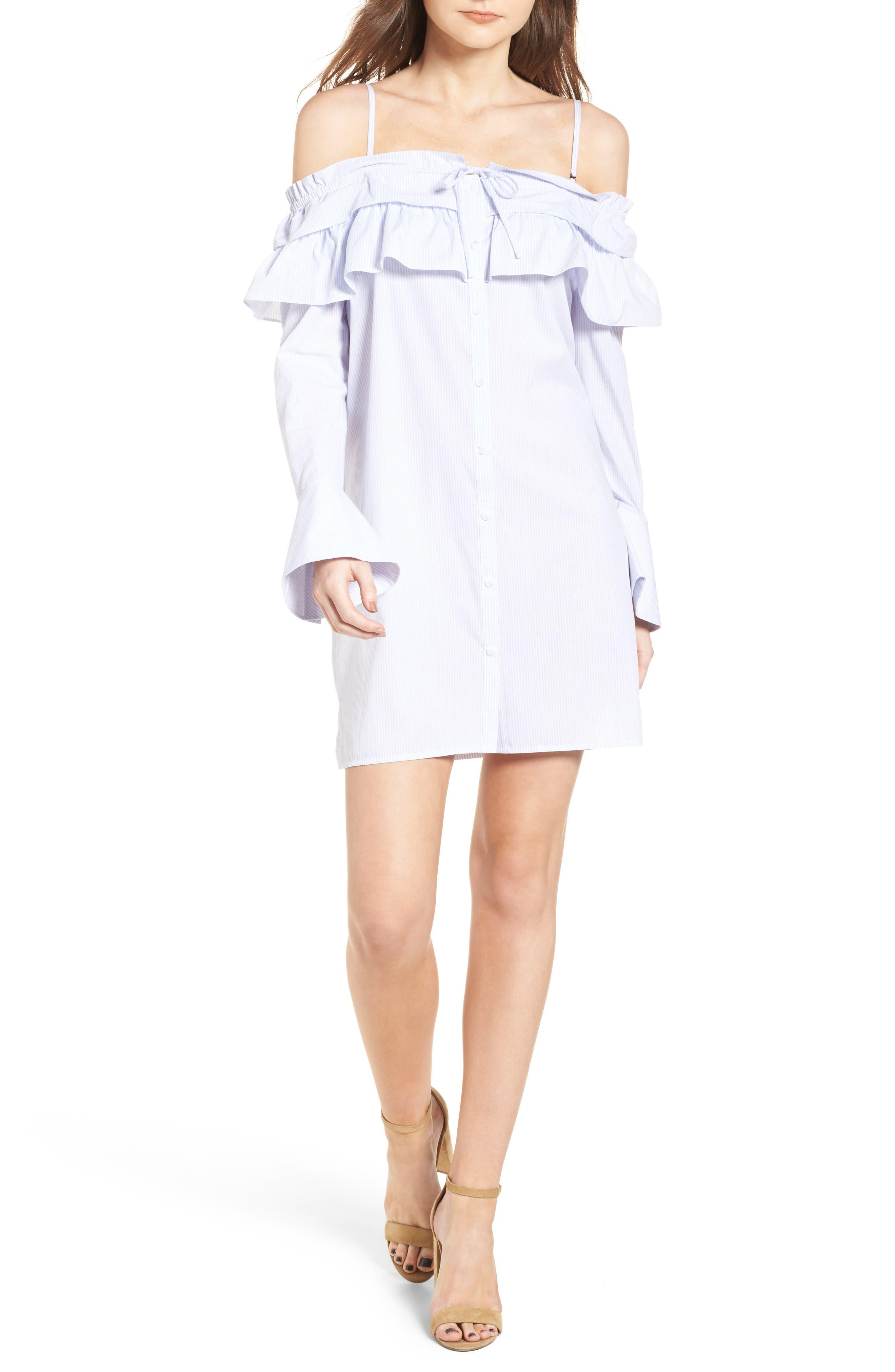 Pallas Off the Shoulder Minidress,                         Main,                         color, Shirting Stripe Multi