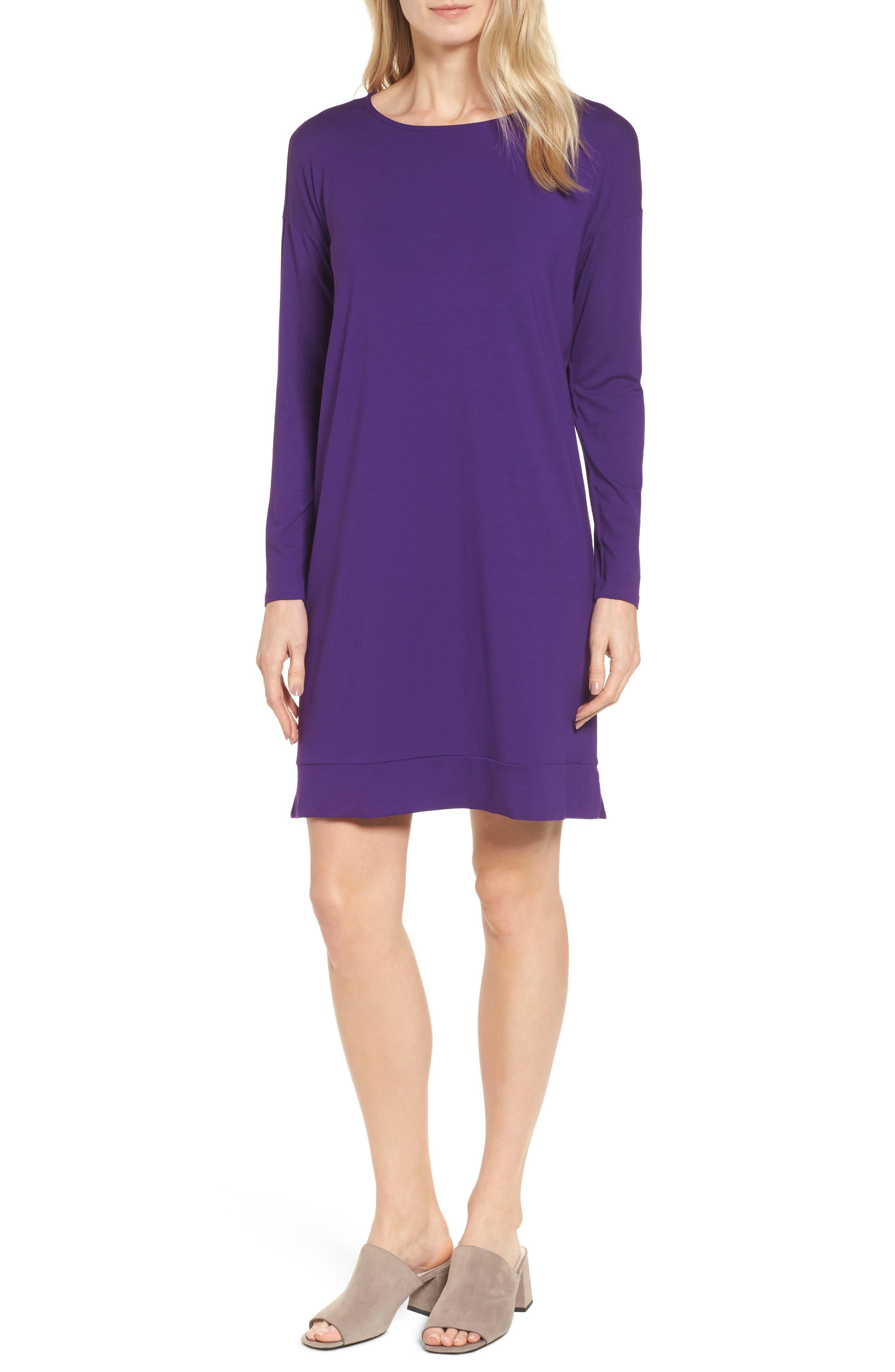 Long Sleeve Jersey Shift Dress,                         Main,                         color, Ultraviolet