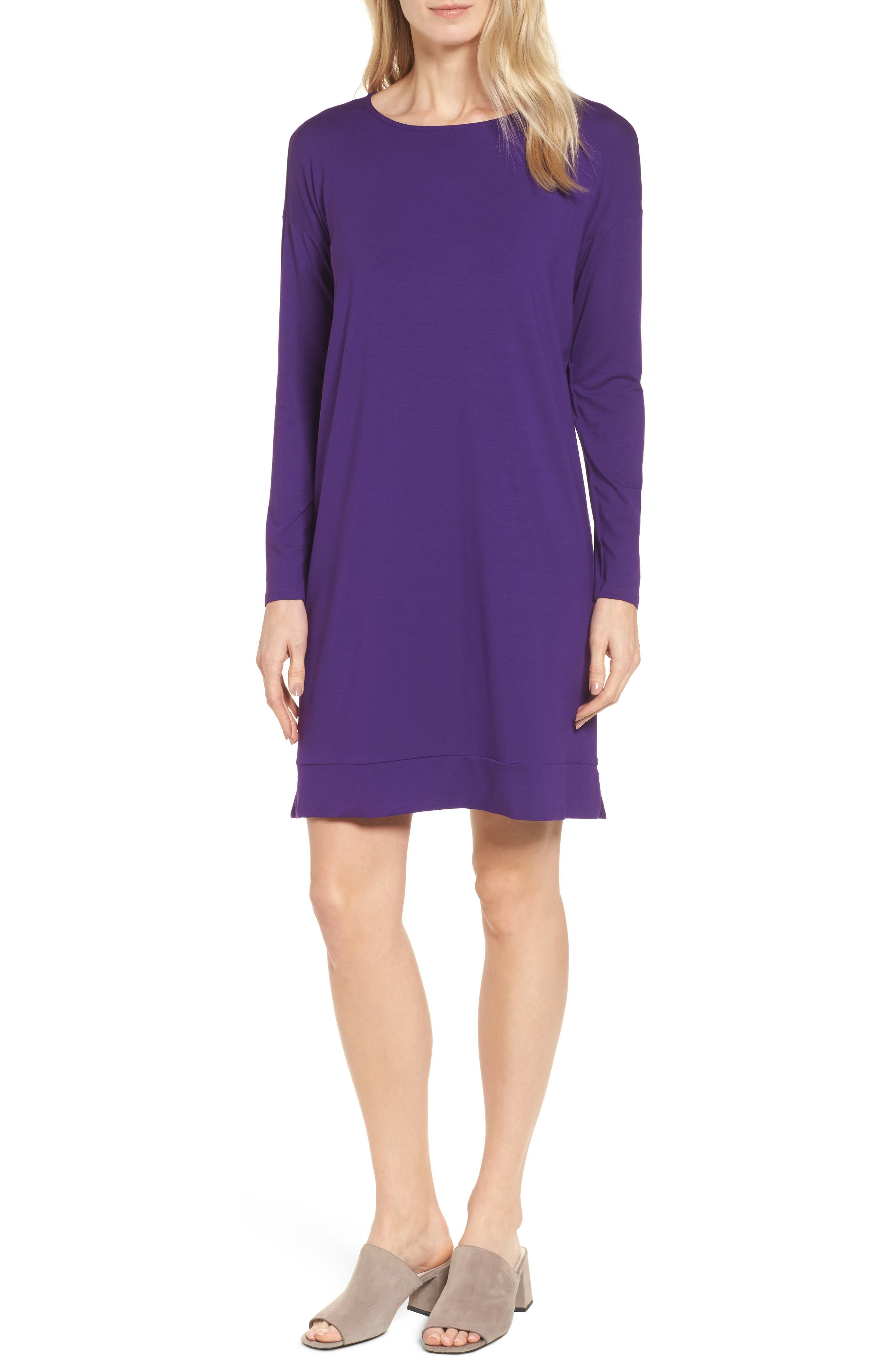 Eileen Fisher Long Sleeve Jersey Shift Dress (Regular & Petite)
