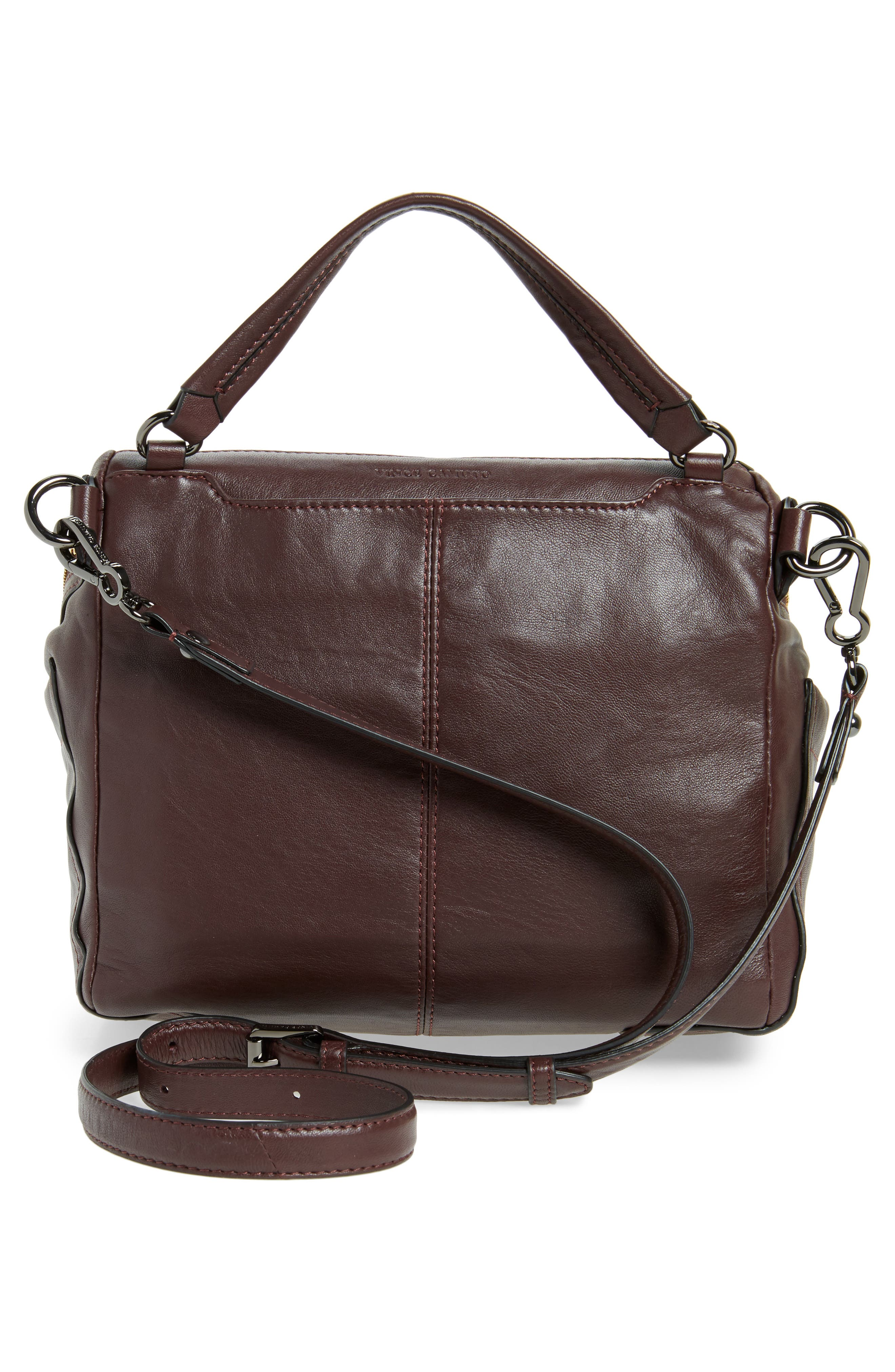 Large Patch Leather Crossbody Bag,                             Alternate thumbnail 3, color,                             Black Cherry