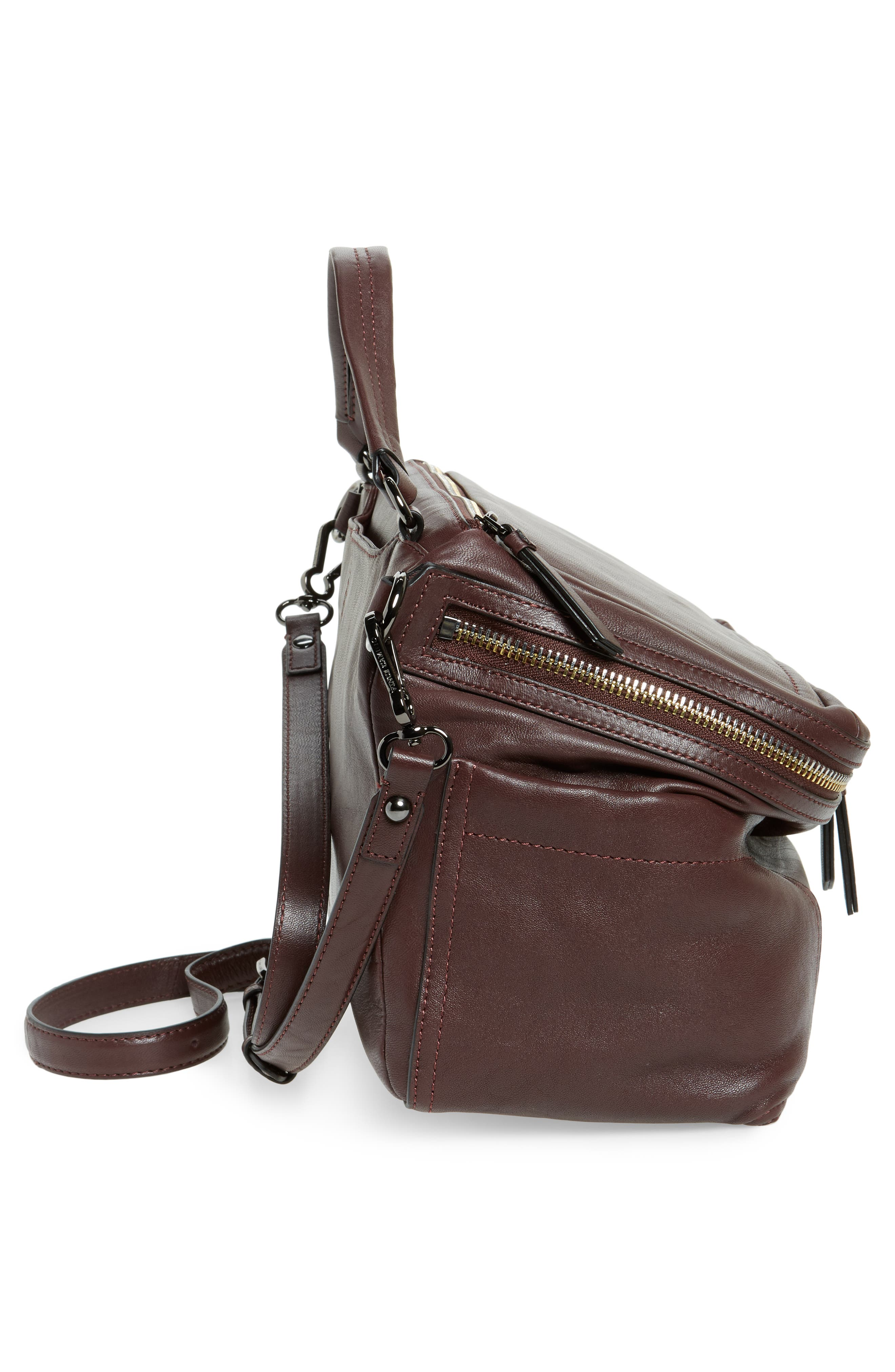 Large Patch Leather Crossbody Bag,                             Alternate thumbnail 5, color,                             Black Cherry