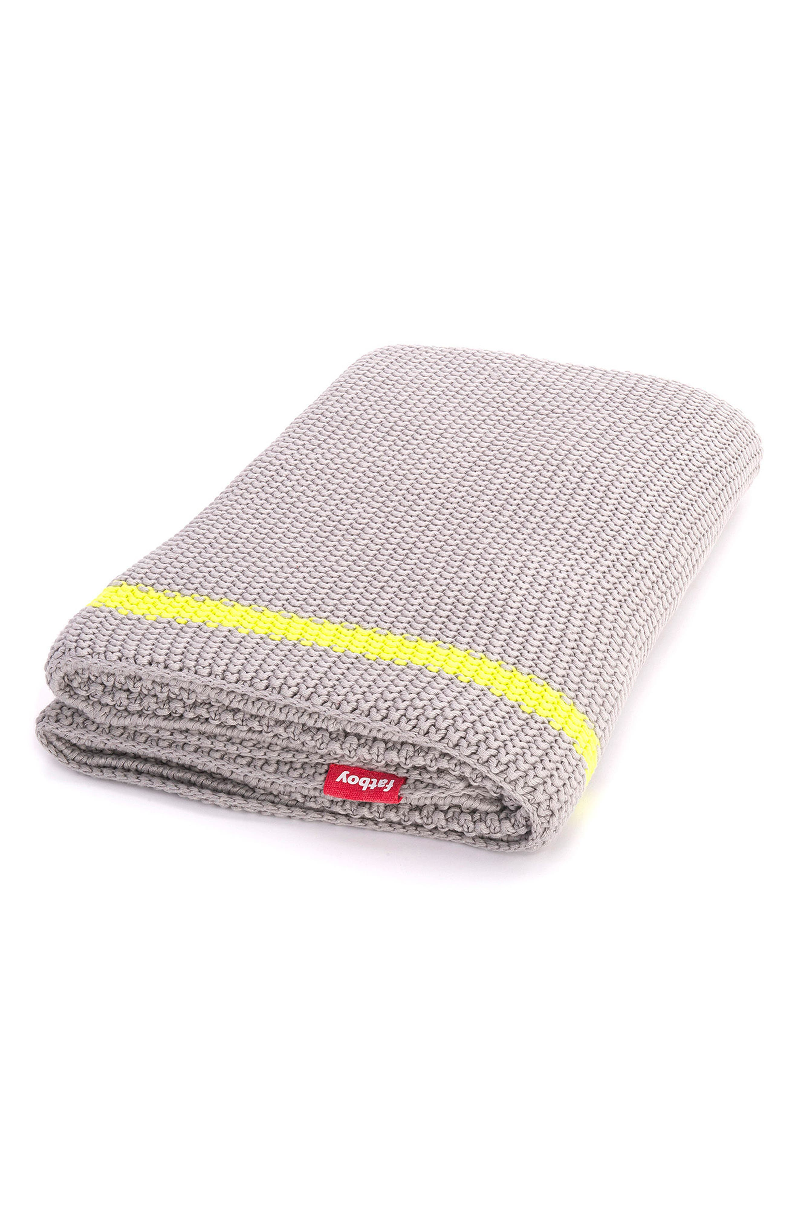 Klaid Throw,                             Main thumbnail 1, color,                             Light Grey/ Yellow Stripe