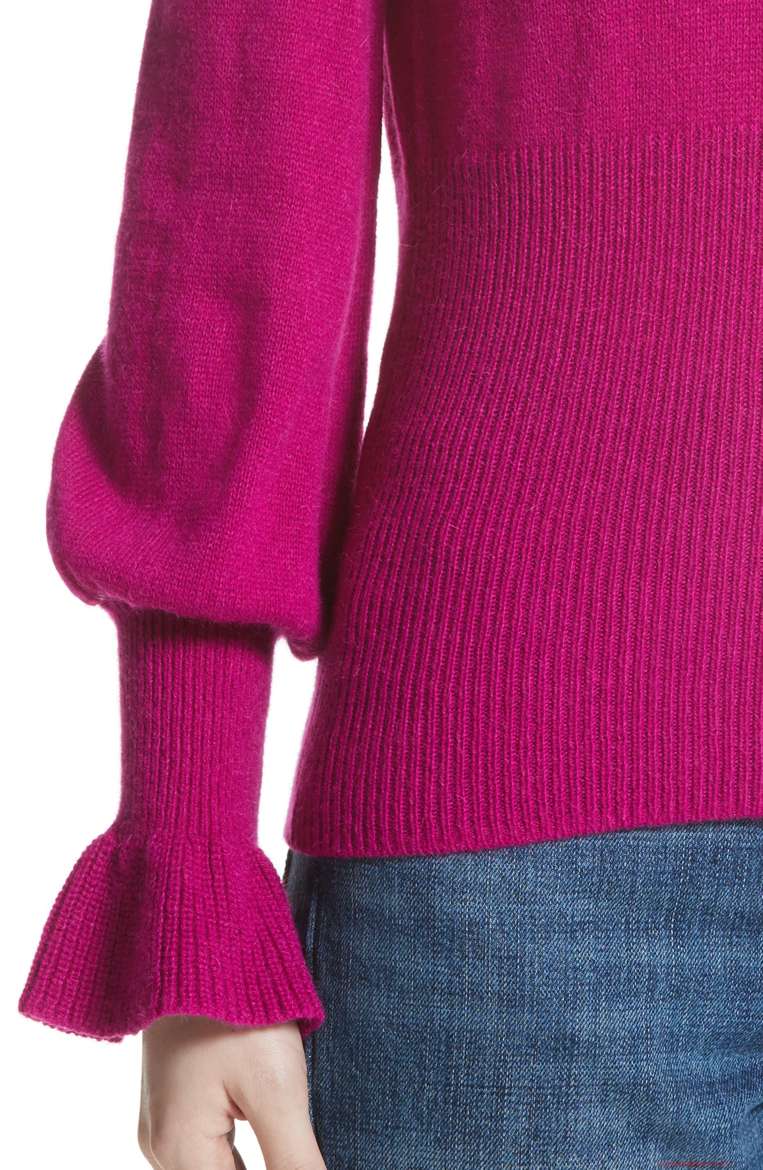 Flare Cuff Alpaca Blend Sweater,                             Alternate thumbnail 4, color,                             Magenta
