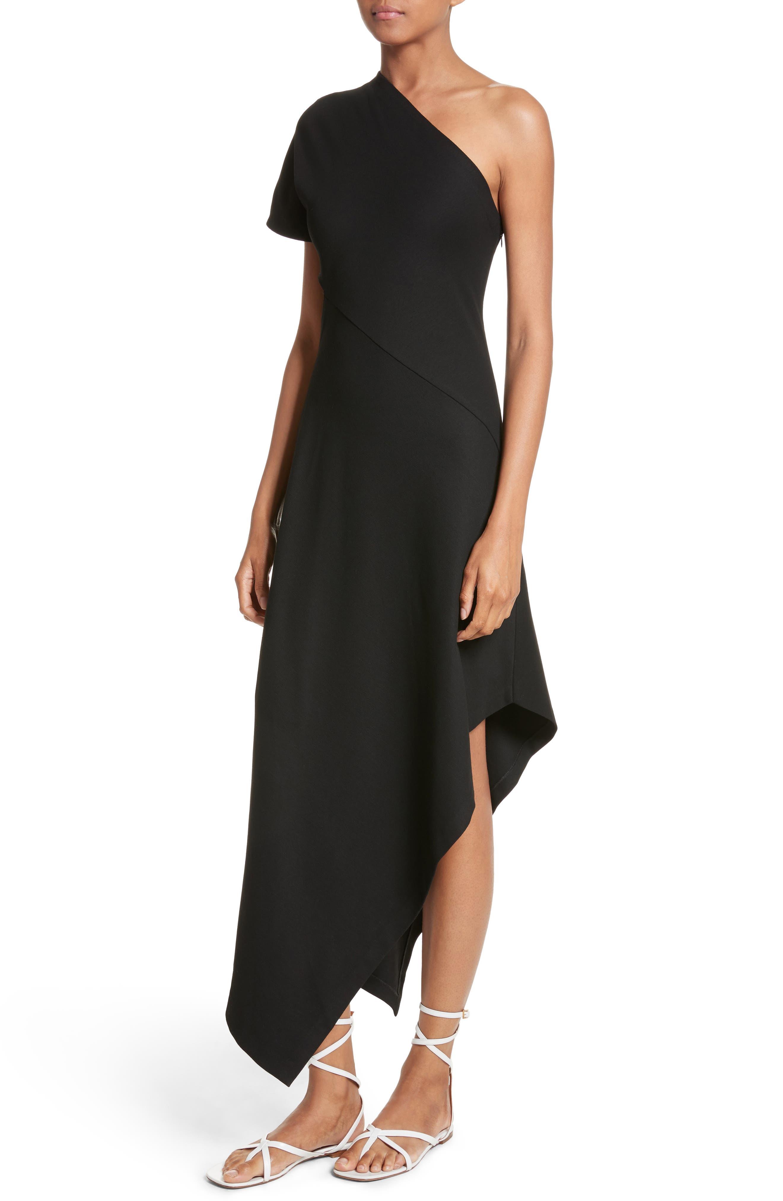 One-Shoulder Asymmetrical Jersey Dress,                             Alternate thumbnail 4, color,                             Black