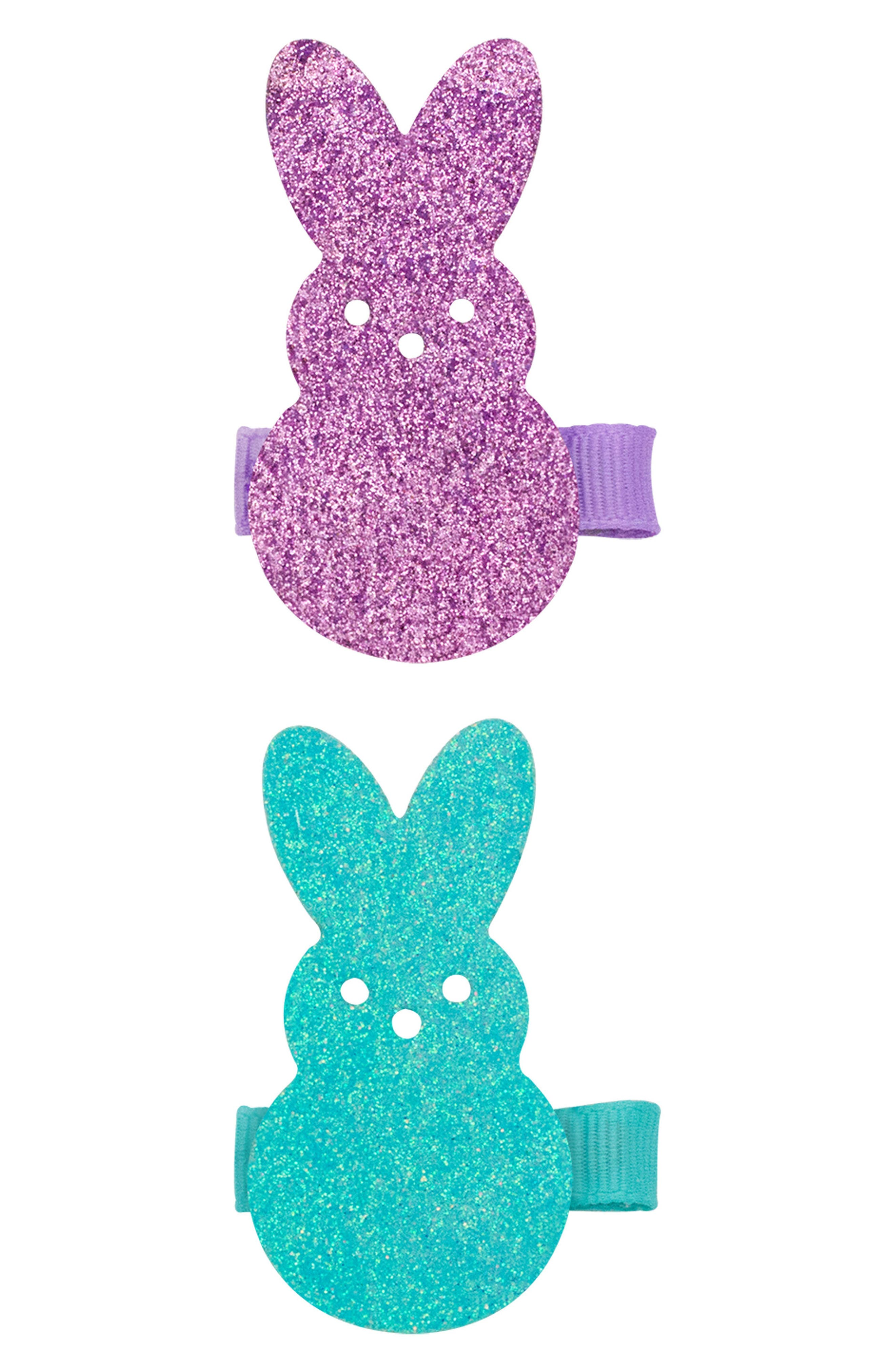 Alternate Image 1 Selected - PLH Bows & Laces 2-Pack Bunny Clips (Baby Girls)