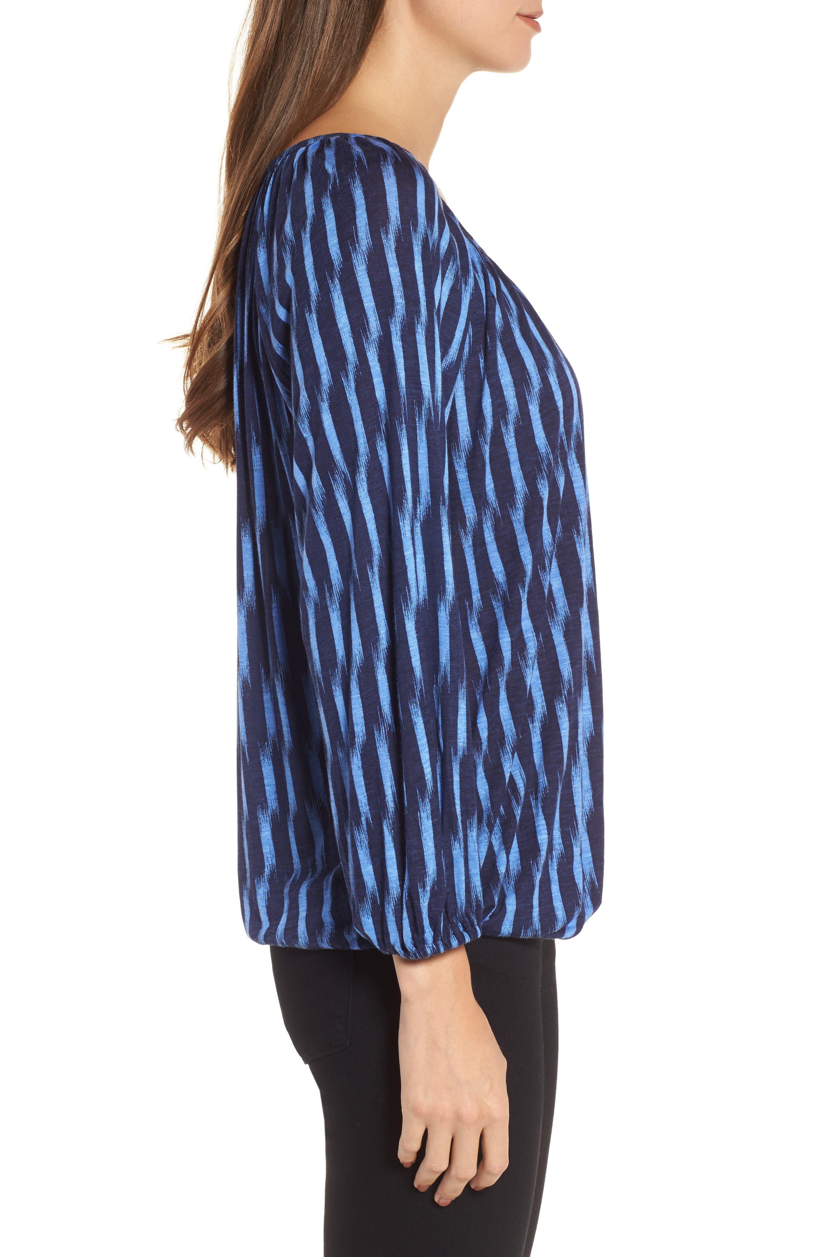 Sari Print Peasant Top,                             Alternate thumbnail 3, color,                             Oxford Blue/ True Navy