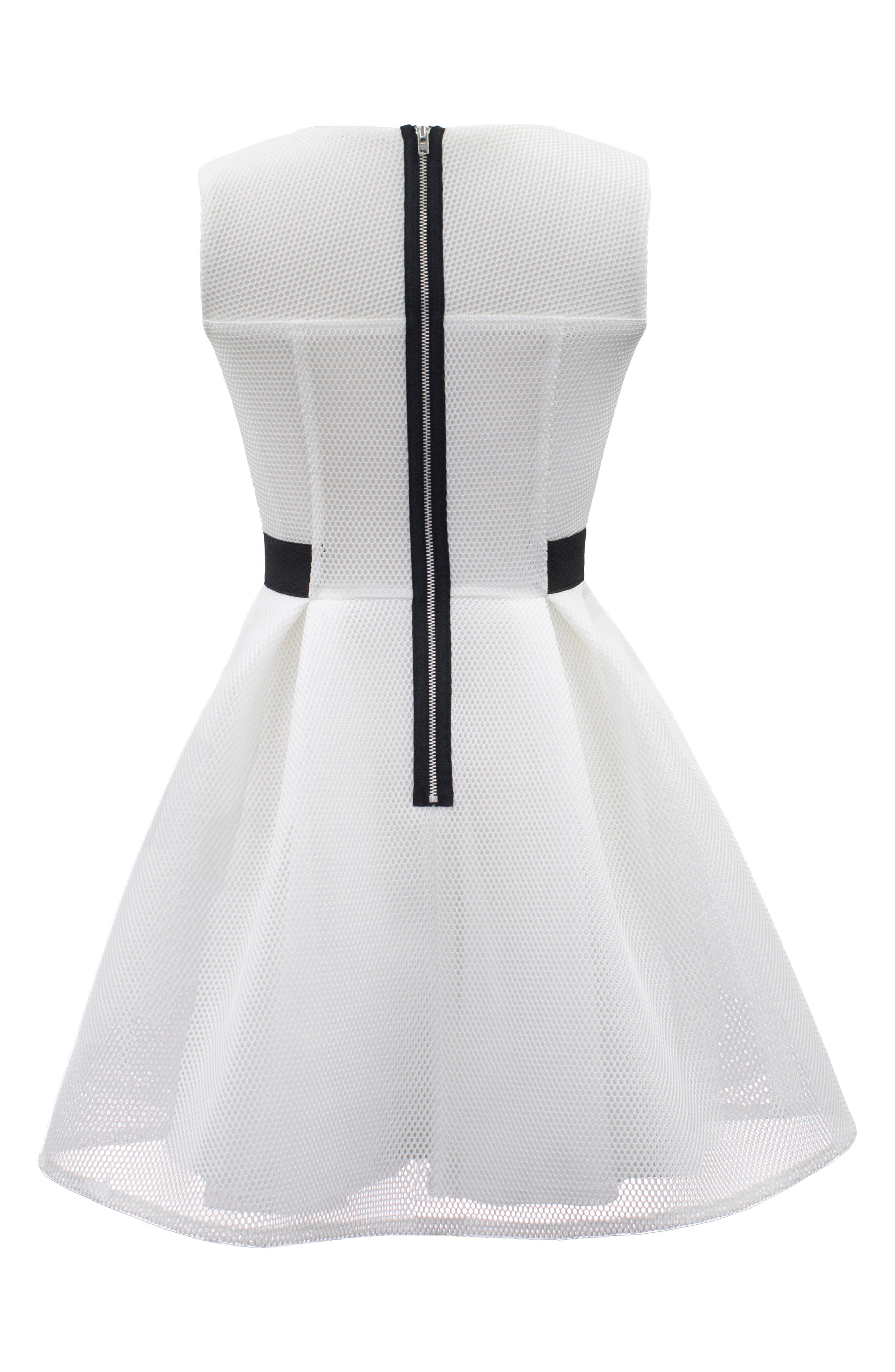 Techno Mesh Fit & Flare Dress,                             Alternate thumbnail 2, color,                             Ivory