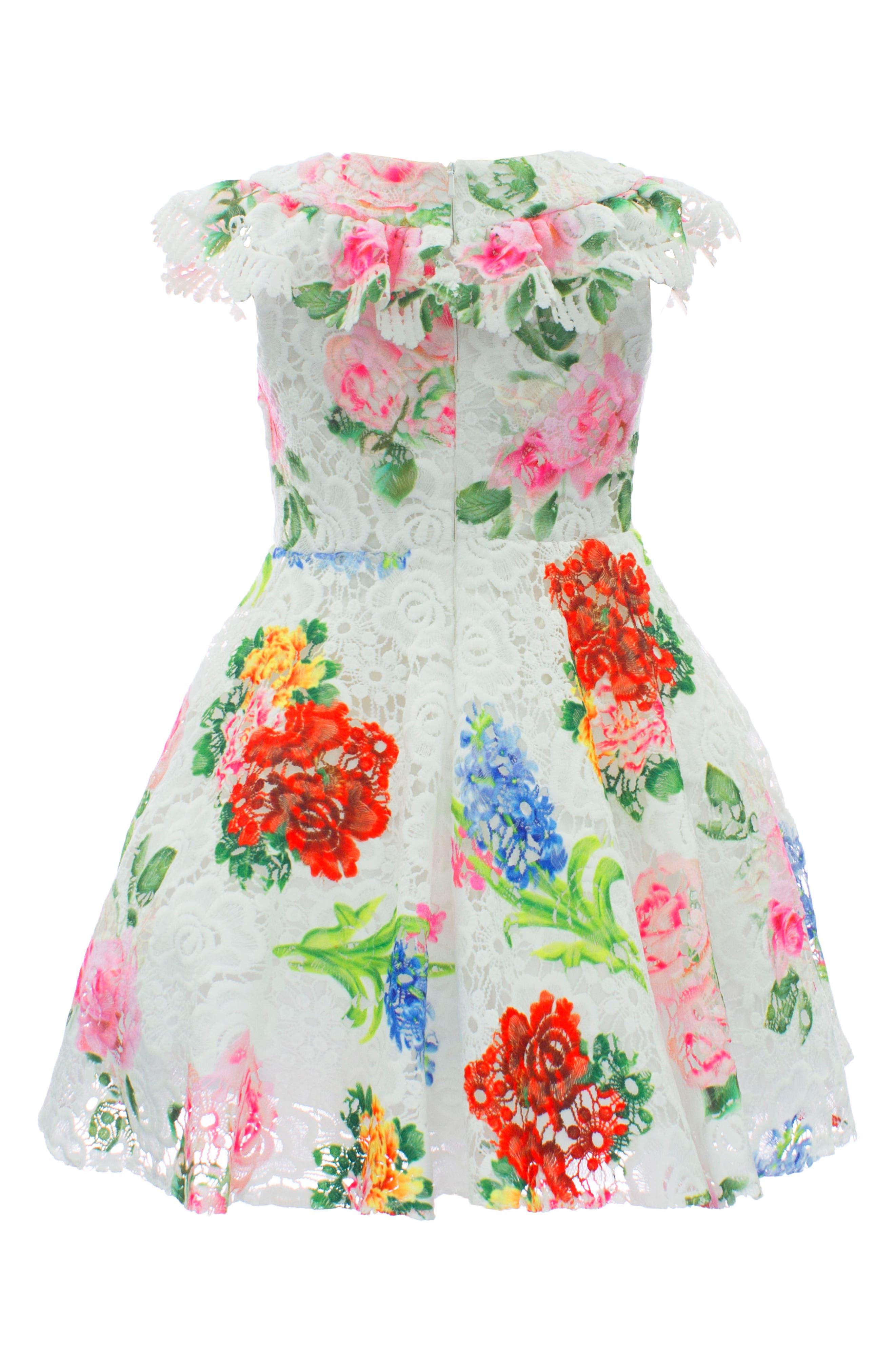 Print Lace Dress,                             Alternate thumbnail 2, color,                             Ivory/ Multi Color