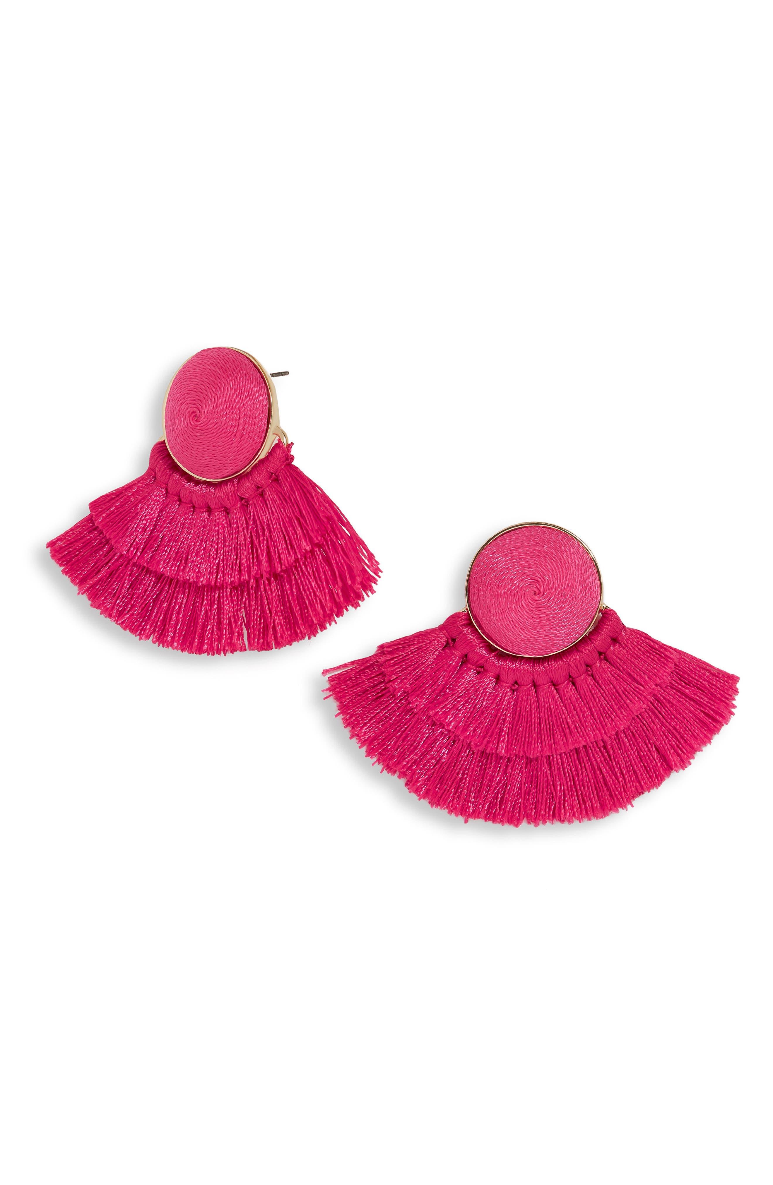 Martina Chubby Deco Fringe Drop Earrings,                             Main thumbnail 1, color,                             Fuchsia