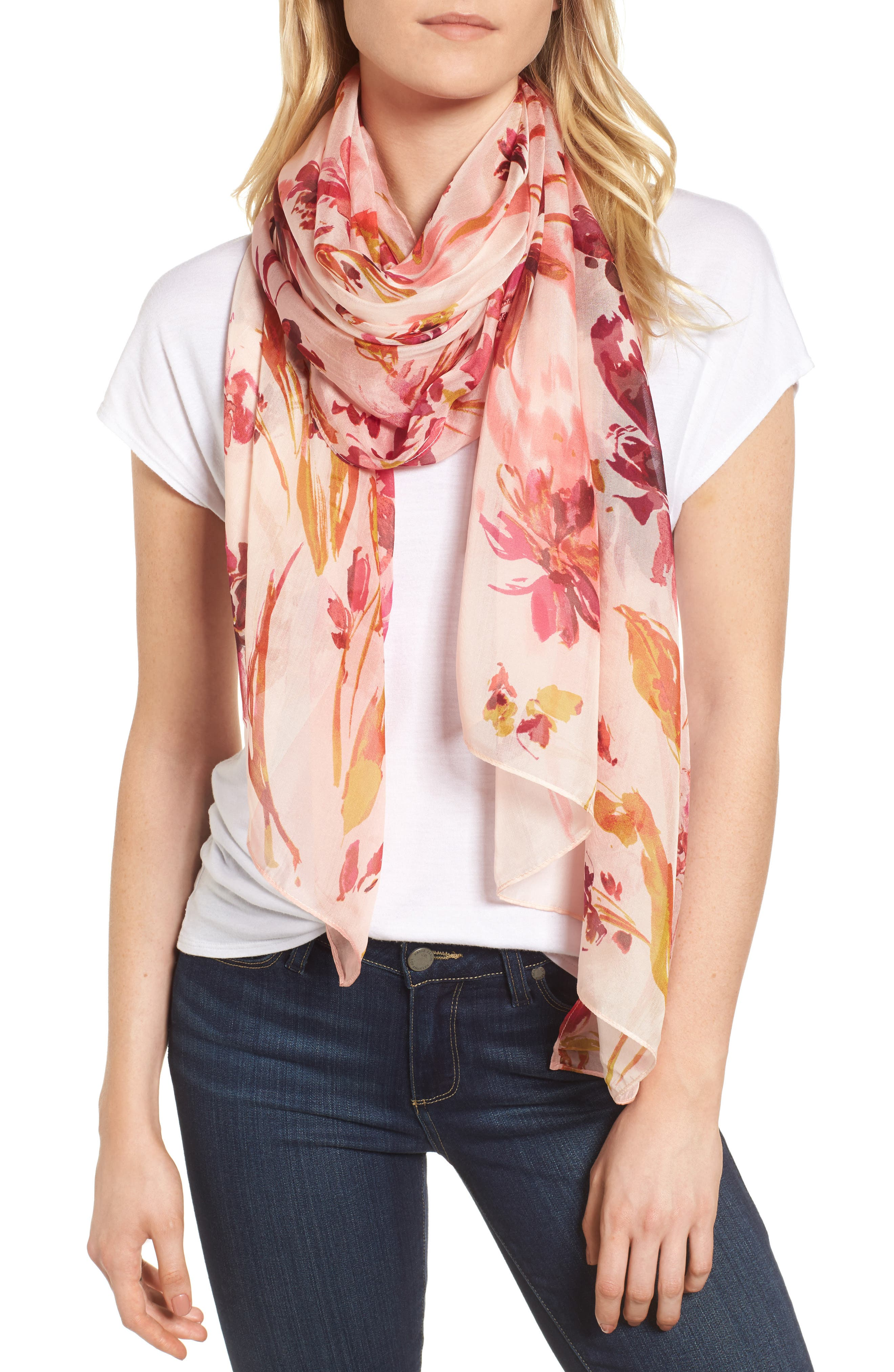 Silk Chiffon Oblong Scarf,                         Main,                         color, Pink Mapped Floral Mix