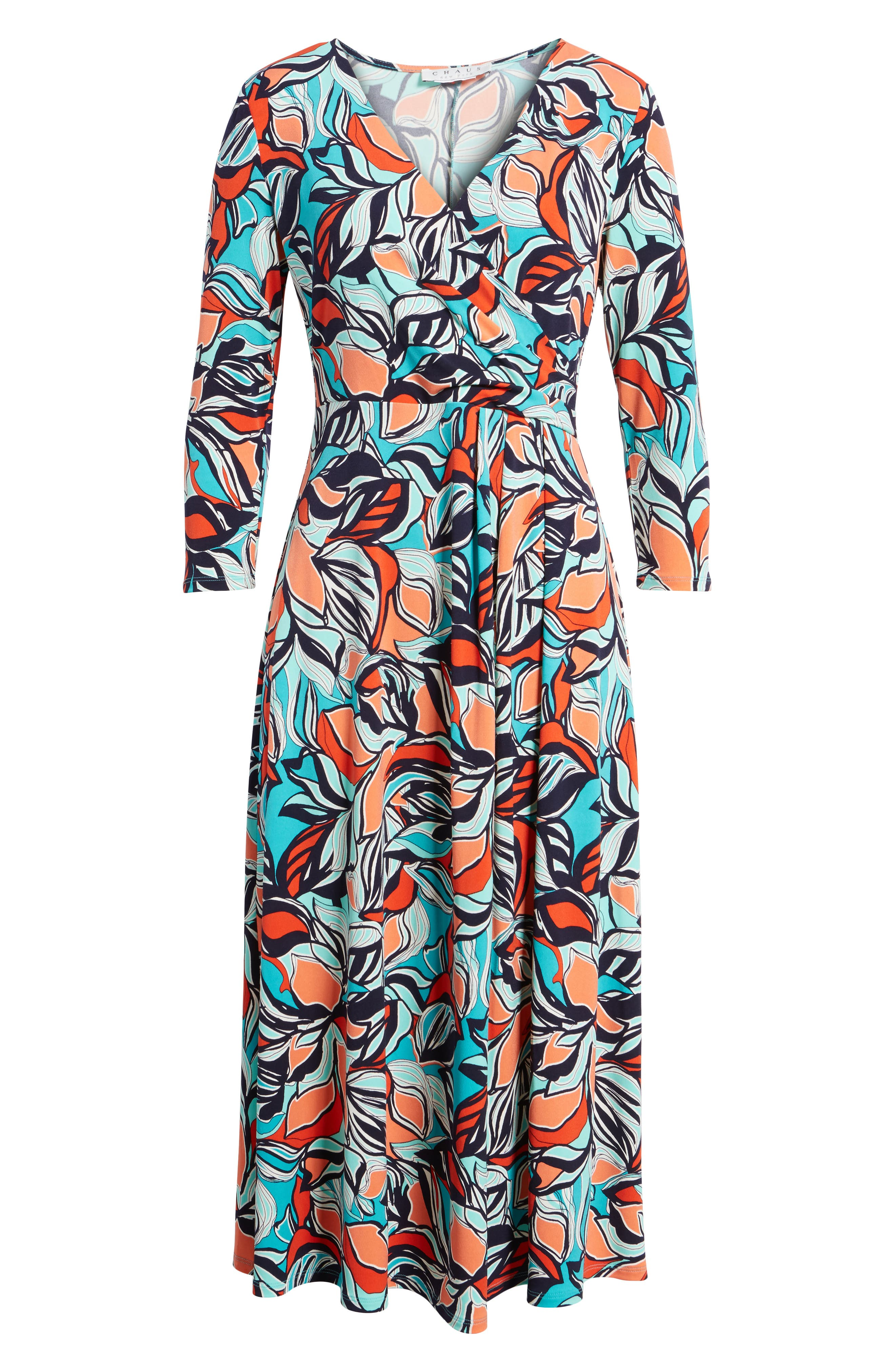Floral Faux Wrap Midi Dress,                             Alternate thumbnail 6, color,                             Sea Glass