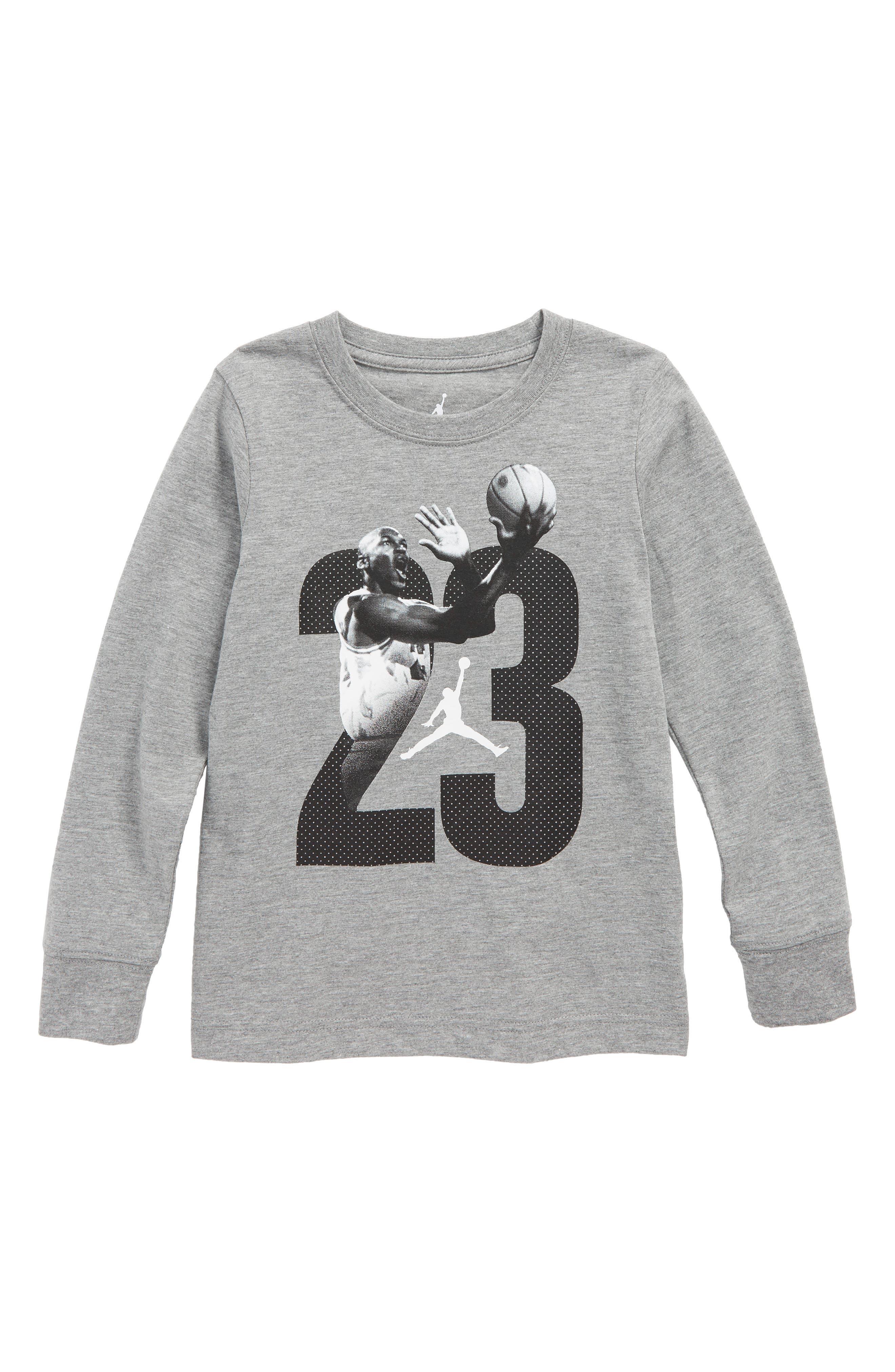 Jordan 23 Graphic Long Sleeve T-Shirt,                             Main thumbnail 1, color,                             Carbon Heather