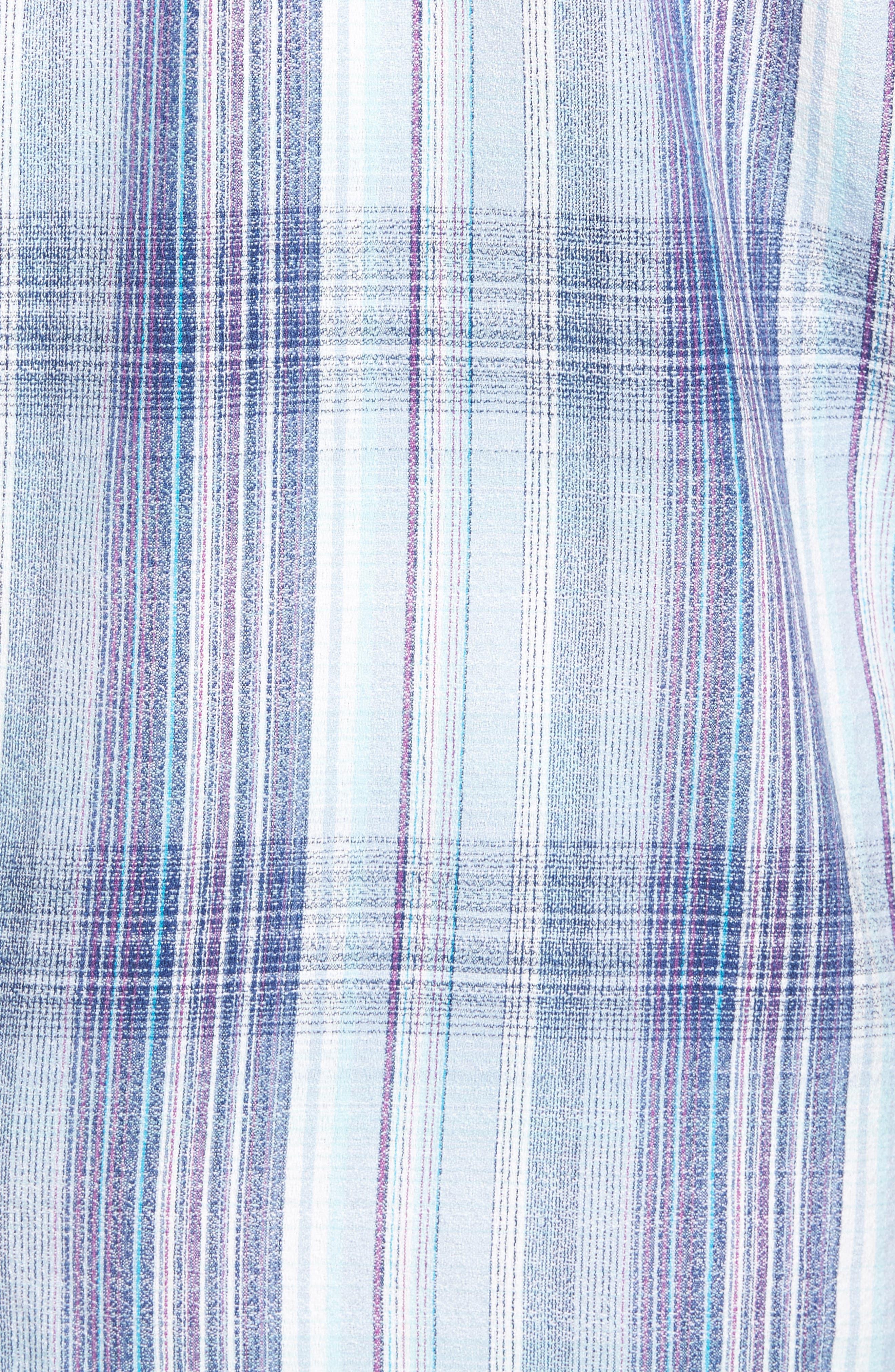 Banyan Cay Regular Fit Silk Blend Sport Shirt,                             Alternate thumbnail 5, color,                             Dockside Blue