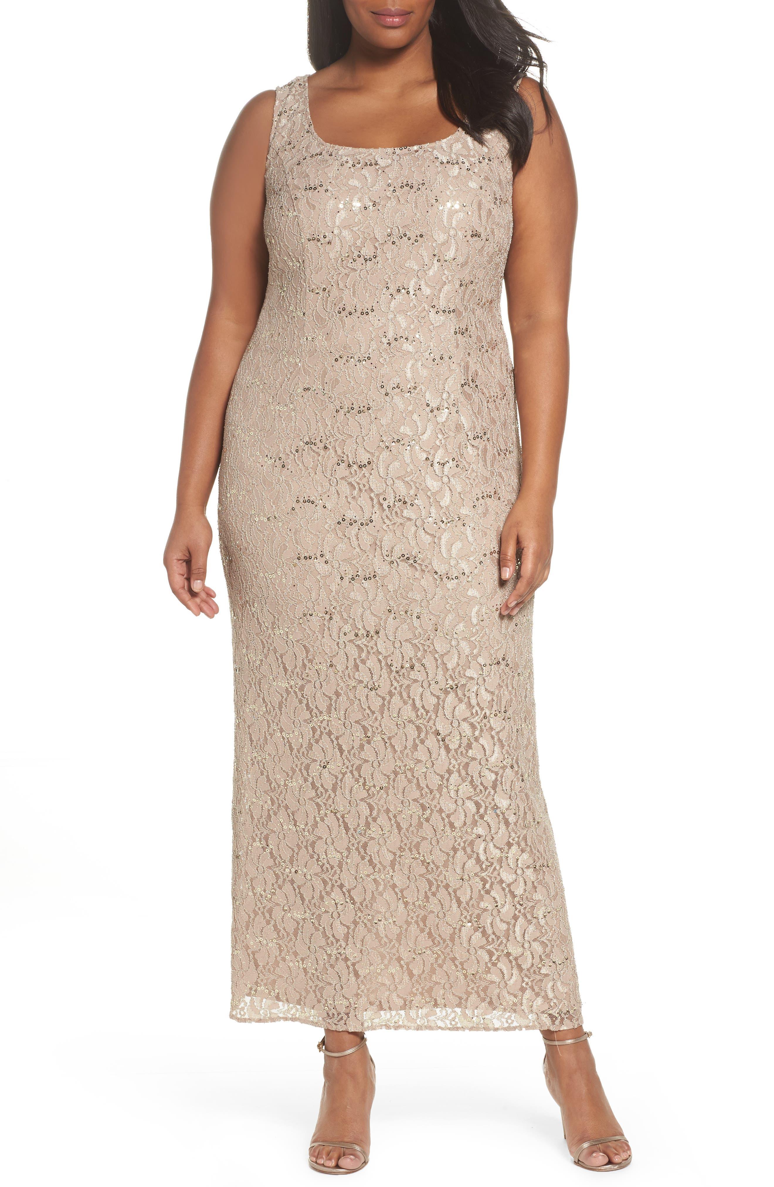 Sequin Lace Gown & Jacket,                             Alternate thumbnail 4, color,                             Champagne