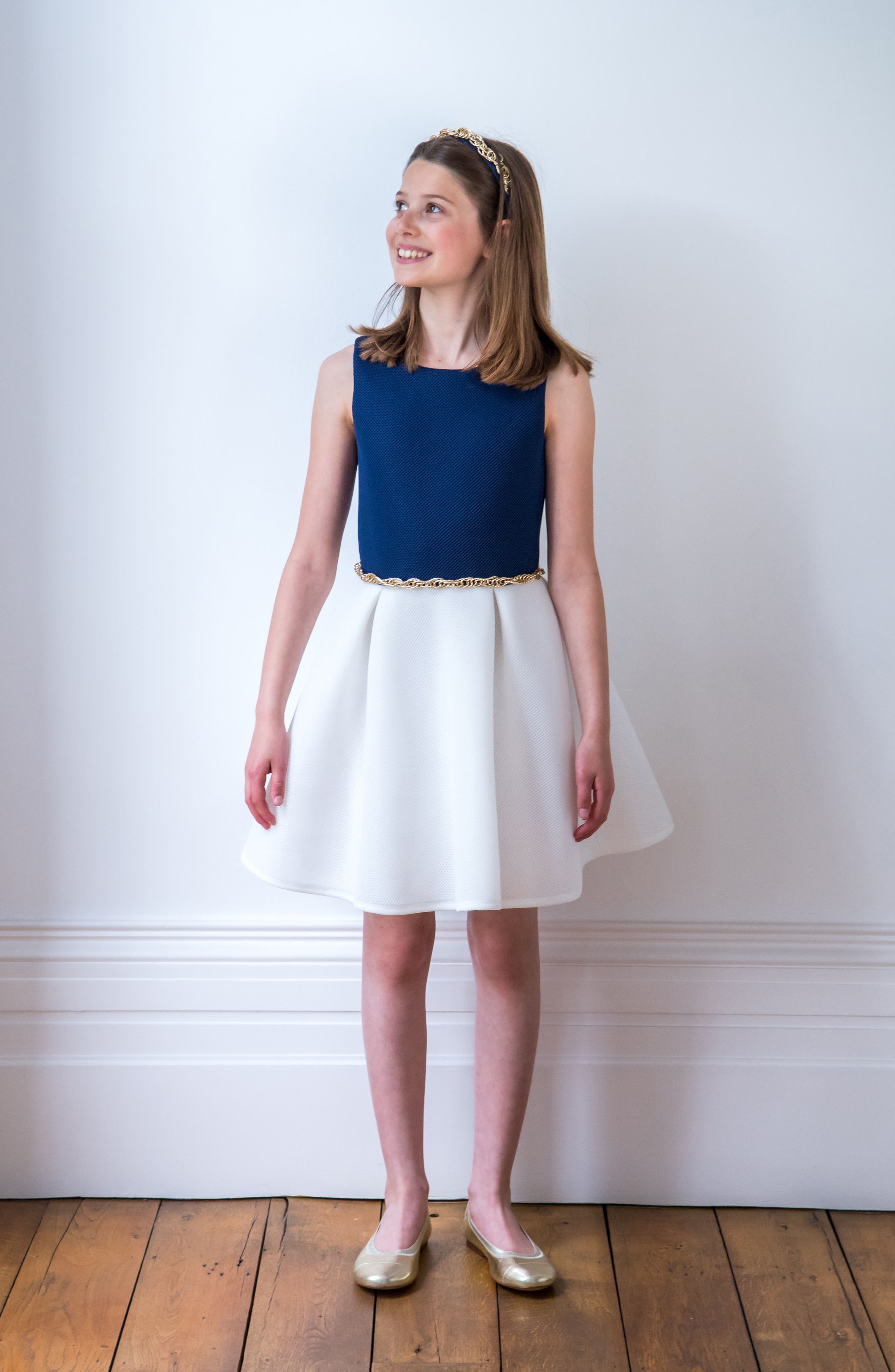 Colorblock Mesh Dress,                             Alternate thumbnail 3, color,                             Navy/ Ivory