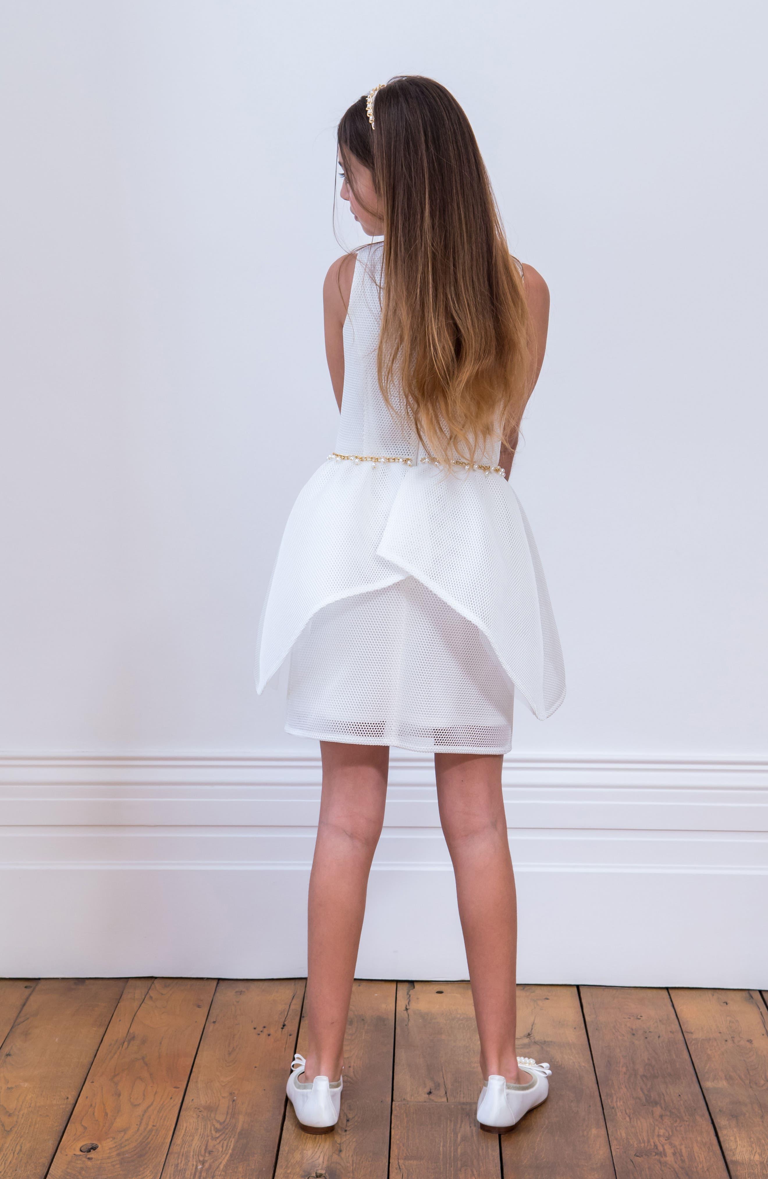 Embellished Mesh Dress,                             Alternate thumbnail 4, color,                             Ivory
