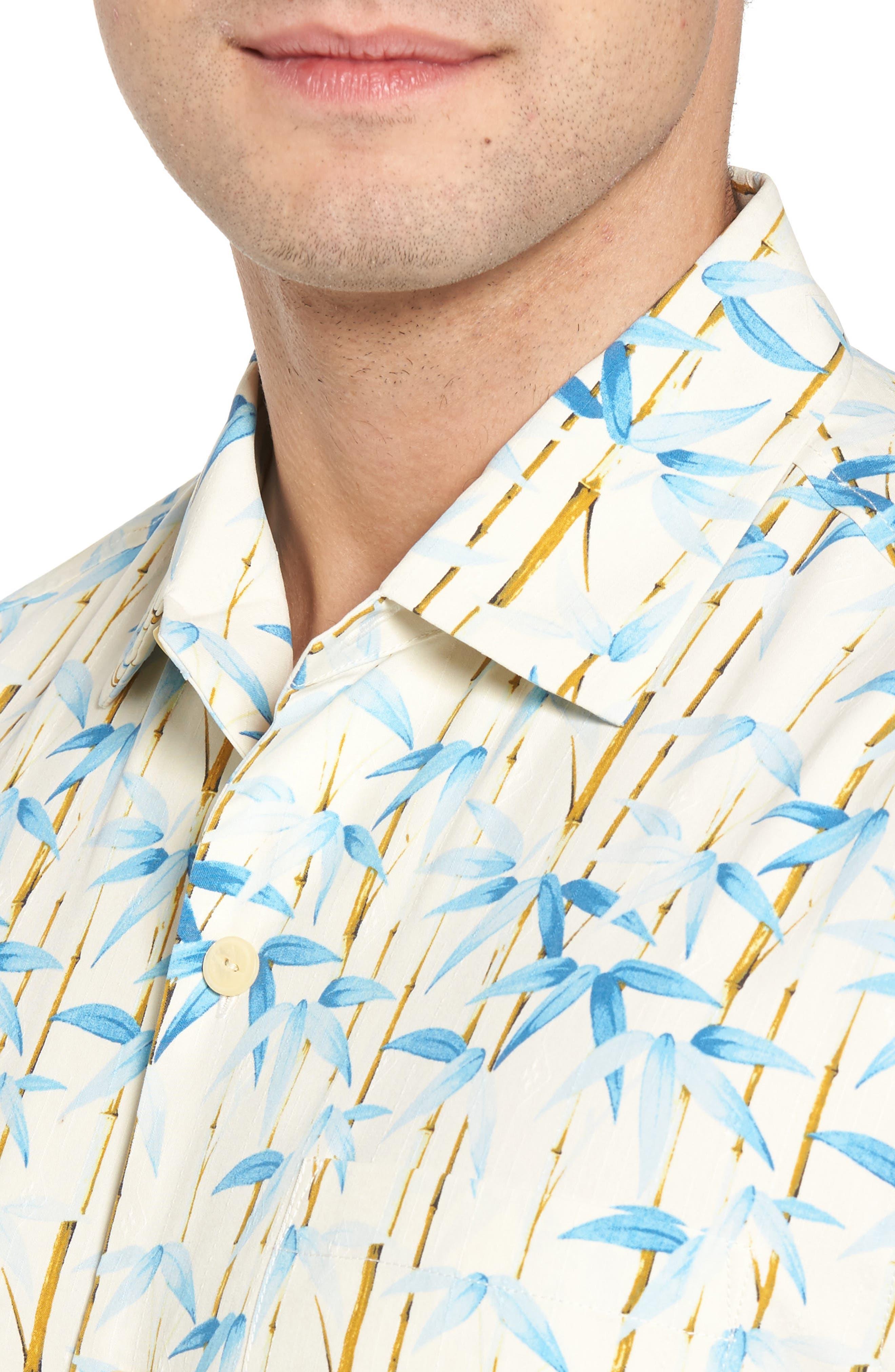 Forest Print Silk Sport Shirt,                             Alternate thumbnail 4, color,                             Coconut Cream