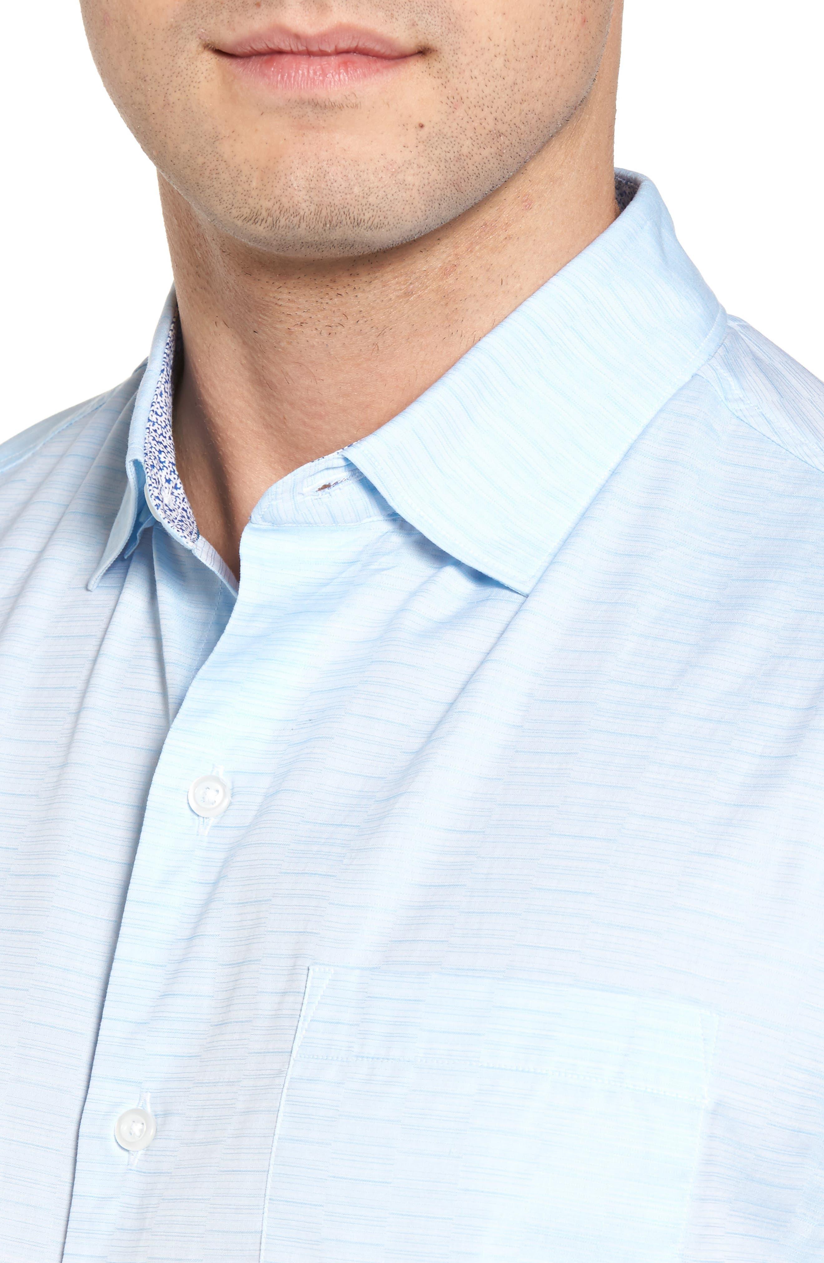 Palm Bay Ombré Sport Shirt,                             Alternate thumbnail 4, color,                             Opal