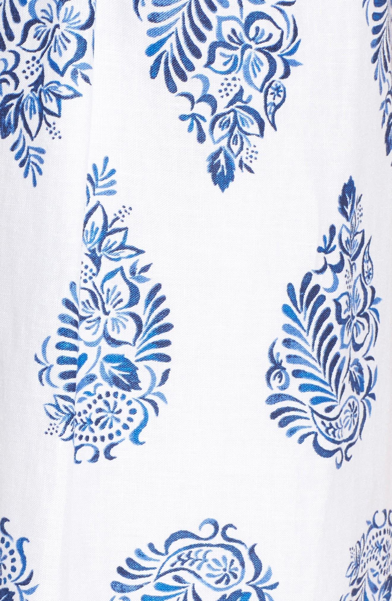 Paleys Paisley Sleeveless Shift Dress,                             Alternate thumbnail 5, color,                             Cobalt
