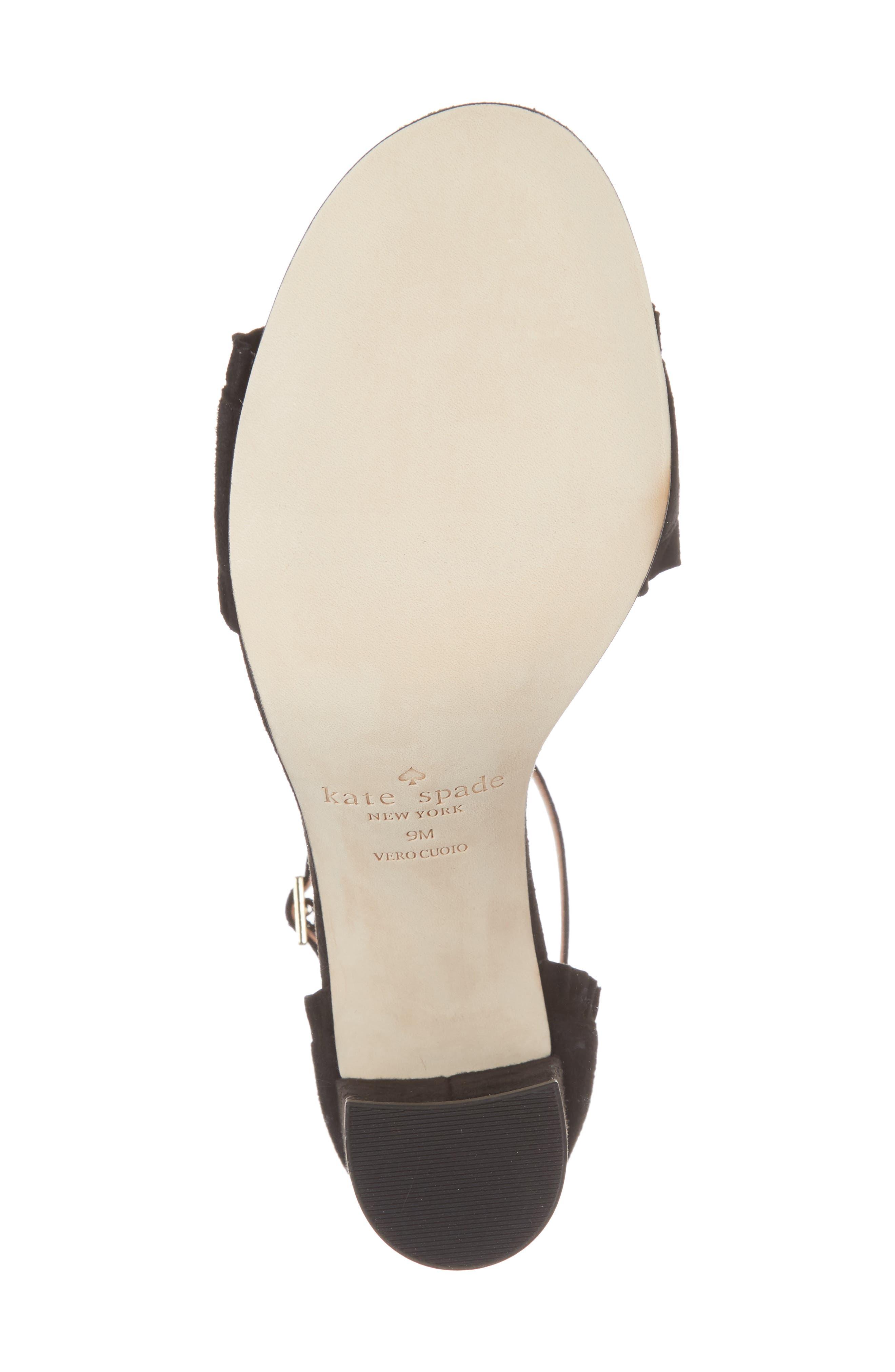 odele ruffle sandal,                             Alternate thumbnail 6, color,                             Black Suede