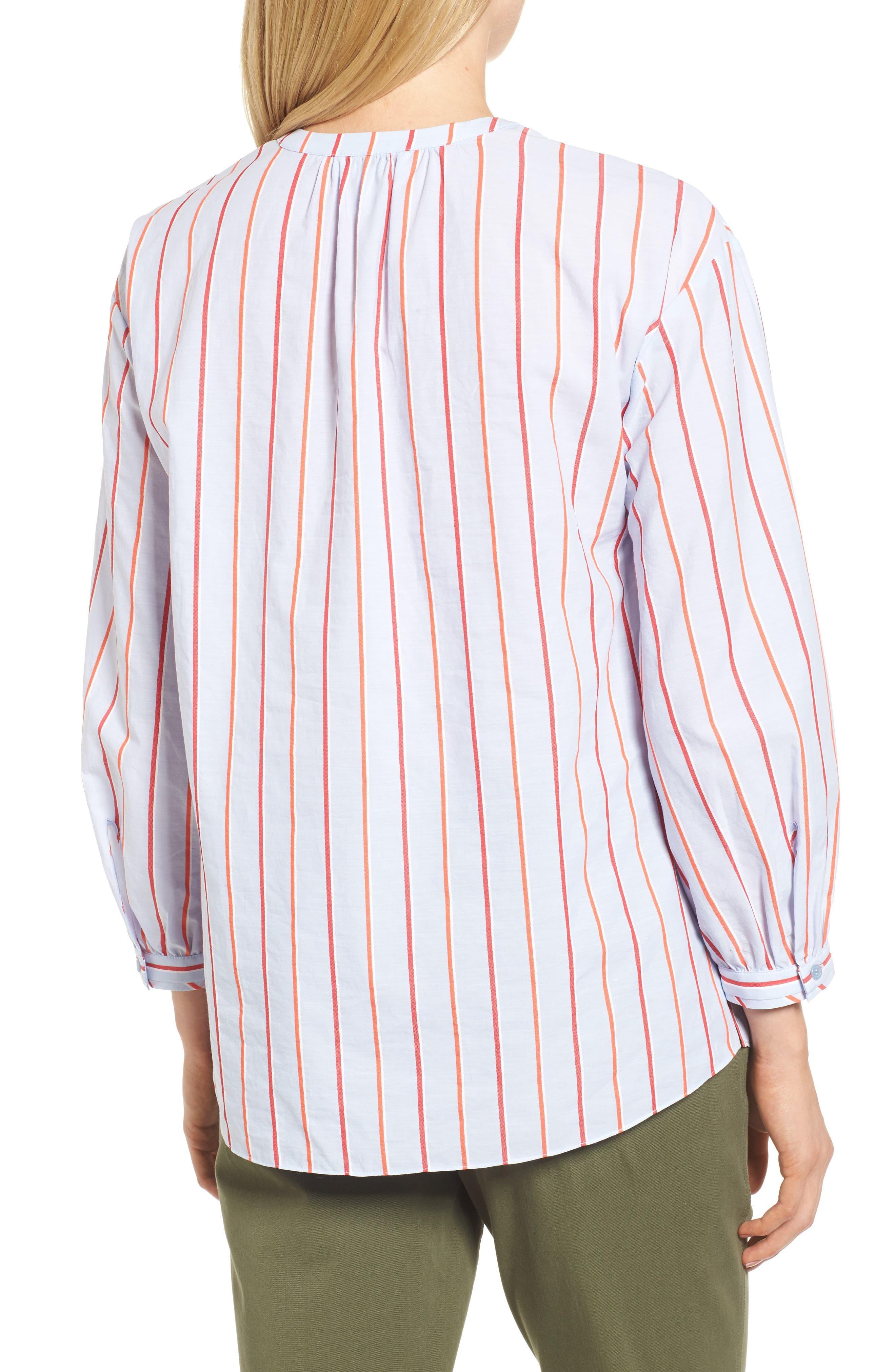 Balloon Sleeve Stripe Shirt,                             Alternate thumbnail 2, color,                             Orange- Blue Stripe