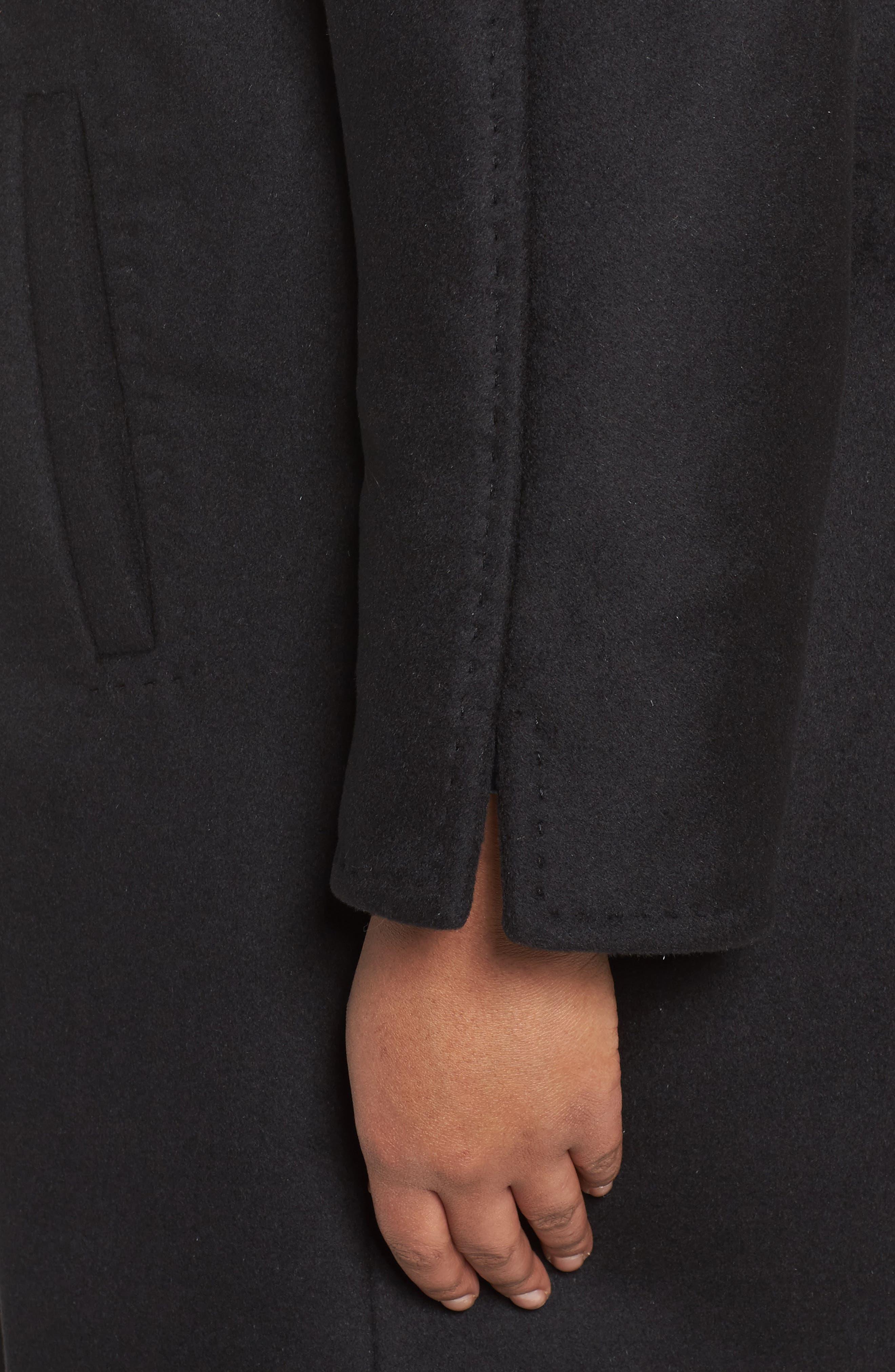 Kimono Wool Blend Coat,                             Alternate thumbnail 4, color,                             Black