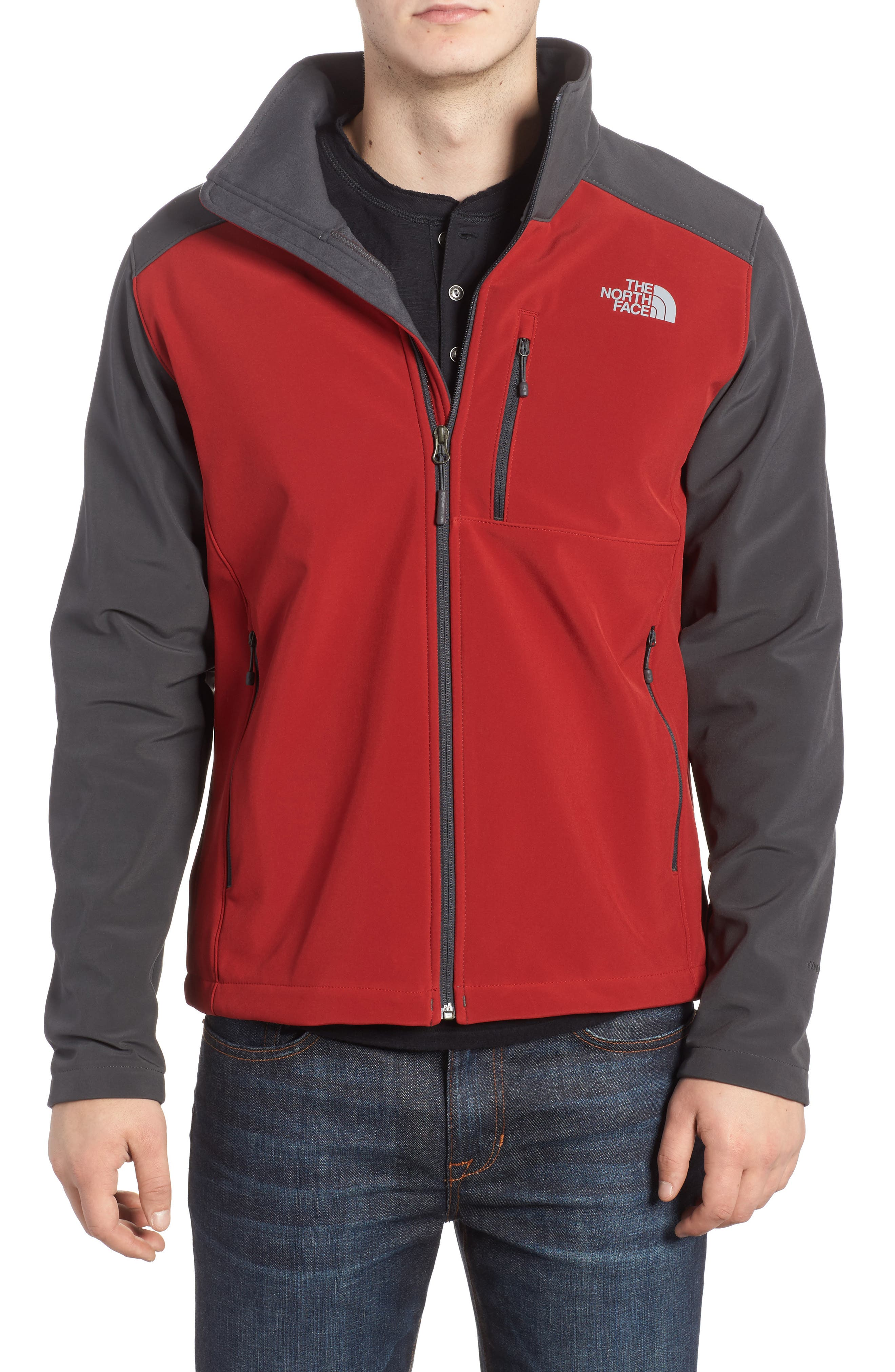 'Apex Bionic 2' Windproof & Water Resistant Soft Shell Jacket,                             Main thumbnail 1, color,                             Cardinal Red/ Asphalt Grey