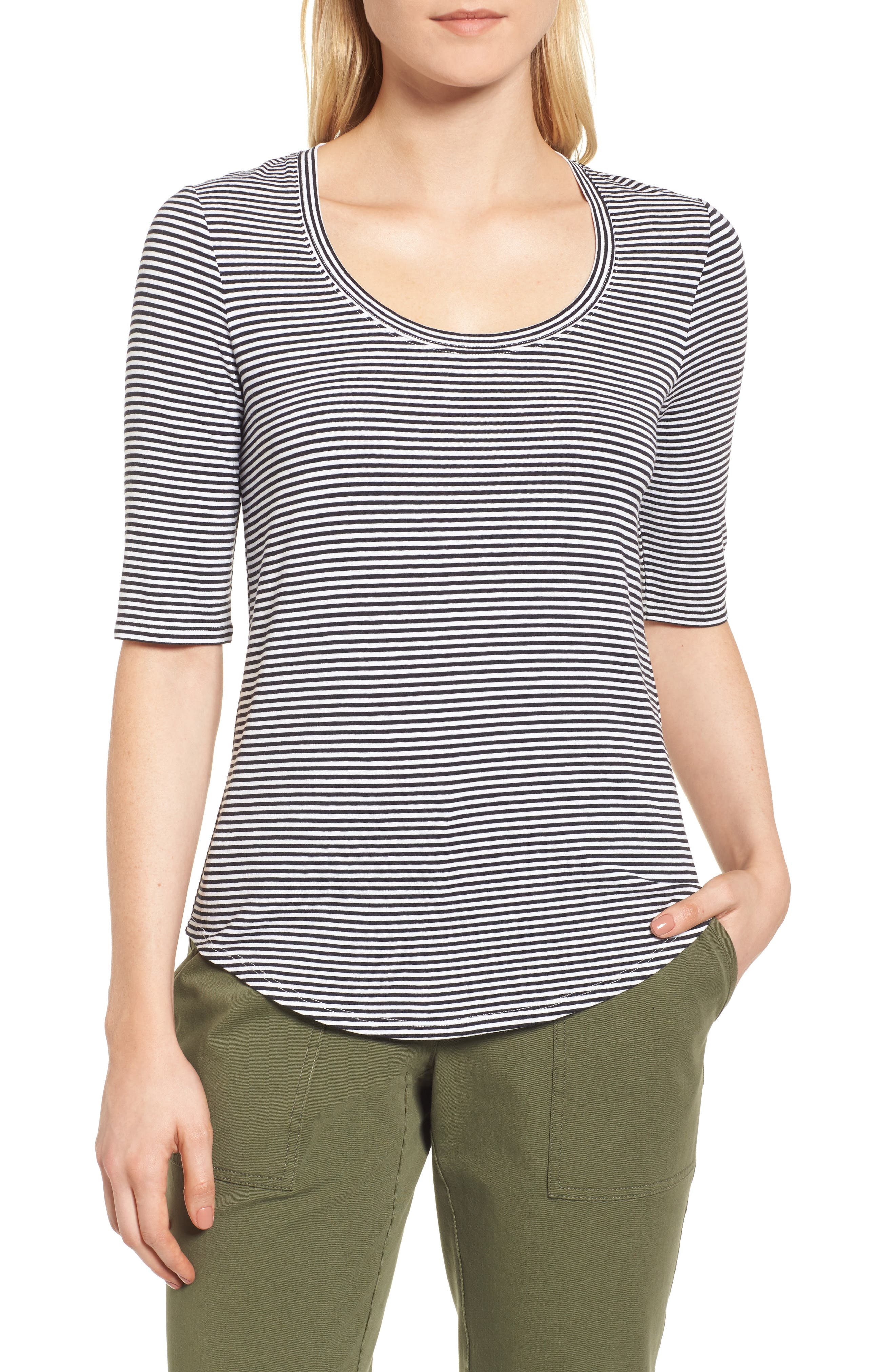 Stripe Scoop Neck Tee,                             Main thumbnail 1, color,                             Navy- White Small Stripe