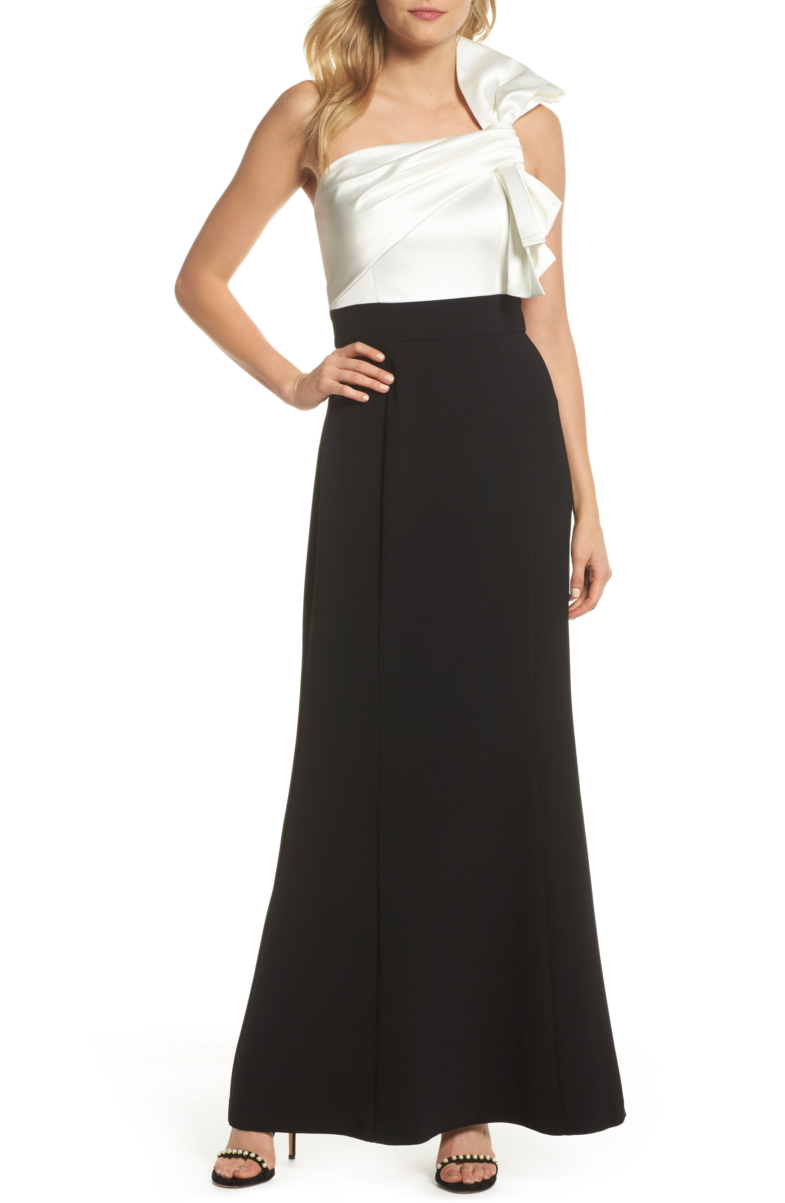 Bow One-Shoulder Gown,                         Main,                         color, Black White