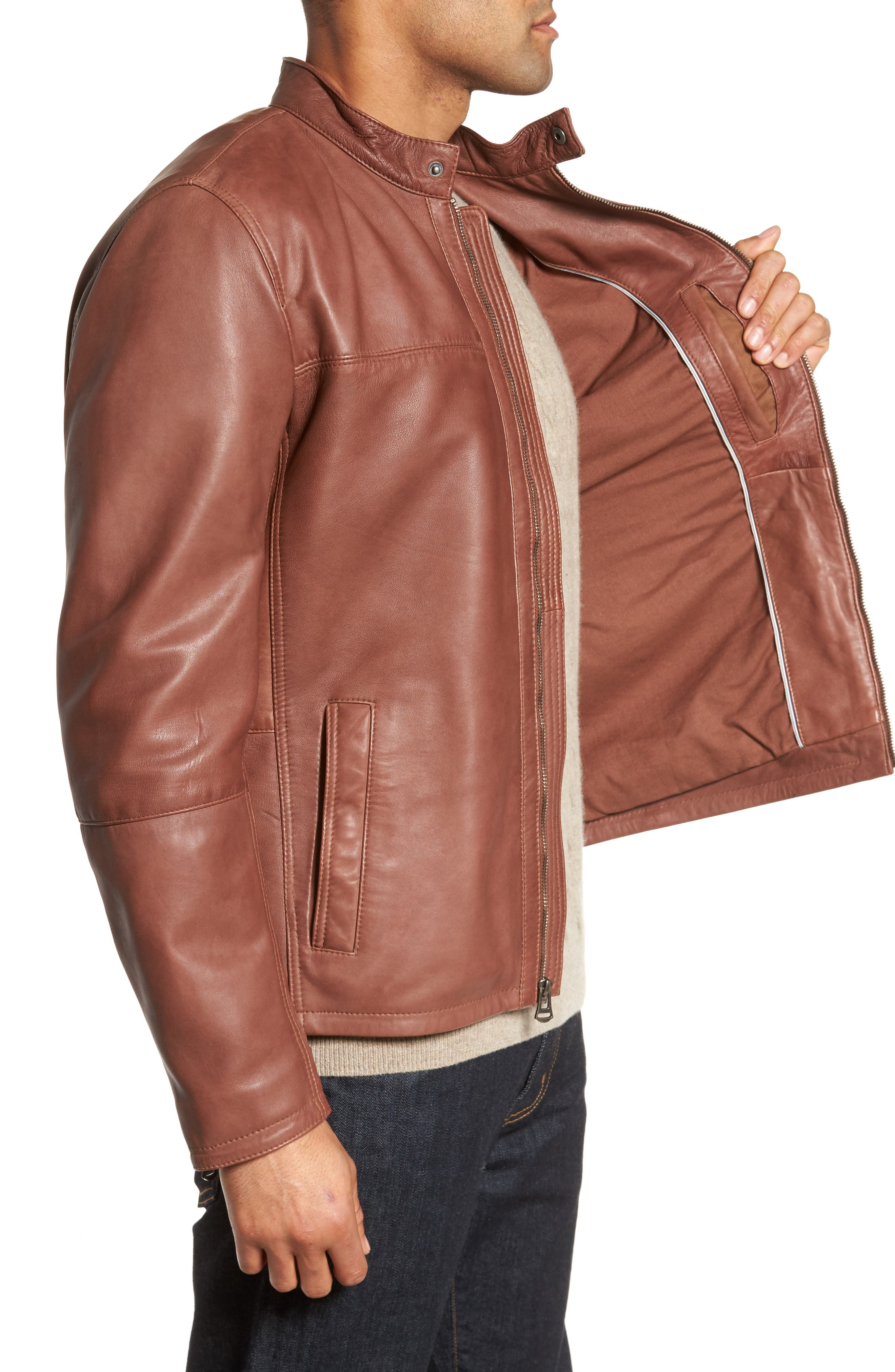 Washed Lamb Leather Moto Jacket,                             Alternate thumbnail 3, color,                             British Tan