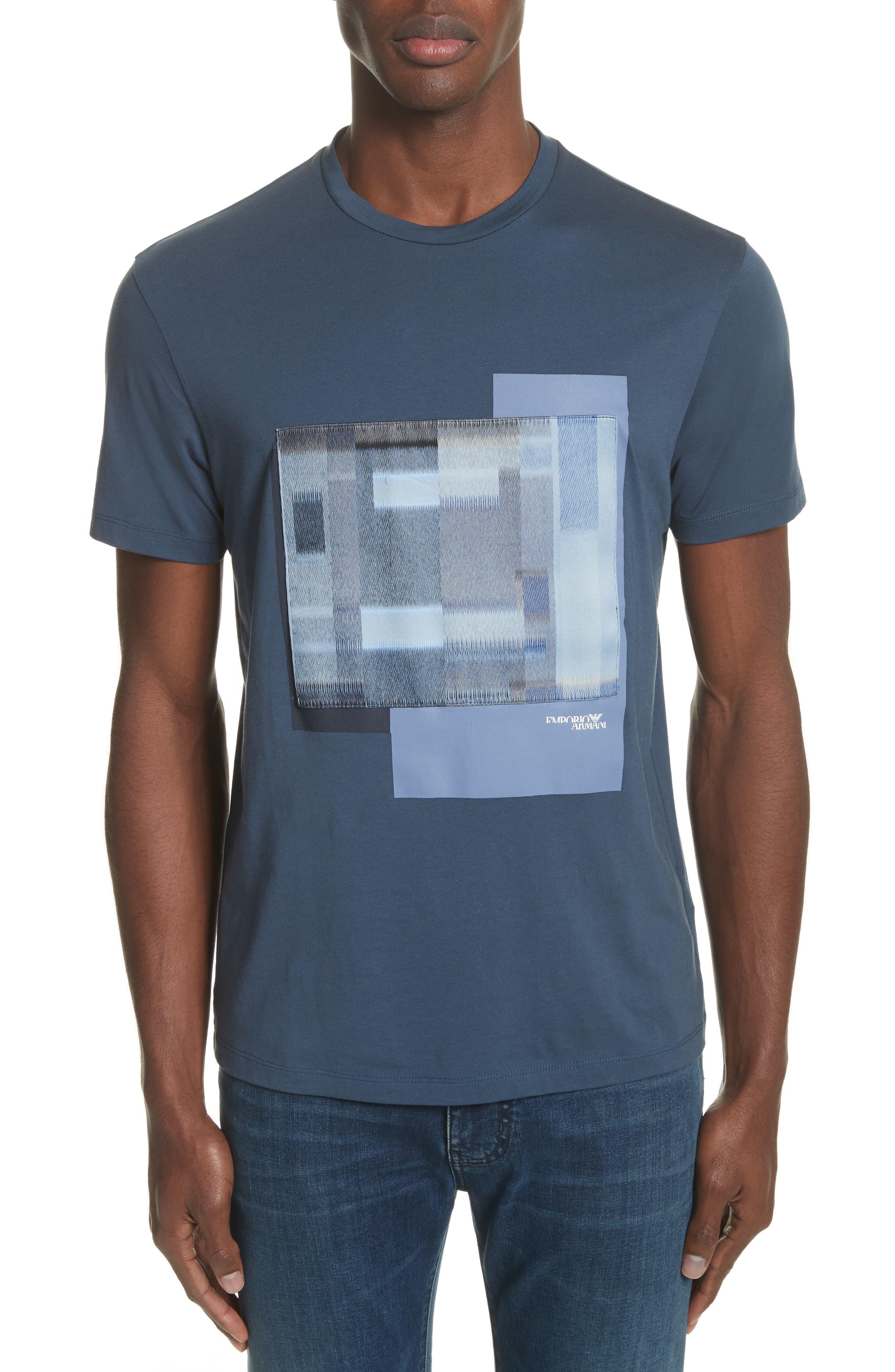 Colorblock Crewneck T-Shirt,                         Main,                         color, Bluette