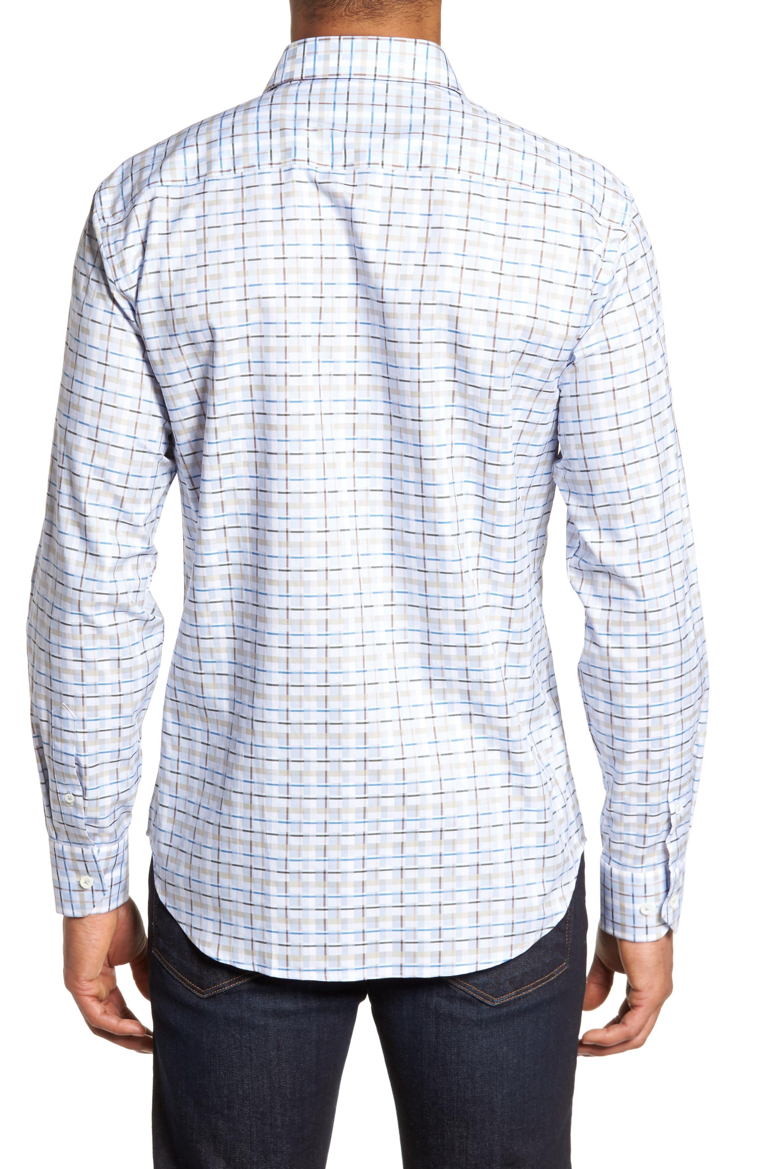 Shaped Fit Plaid Sport Shirt,                             Alternate thumbnail 2, color,                             Sky