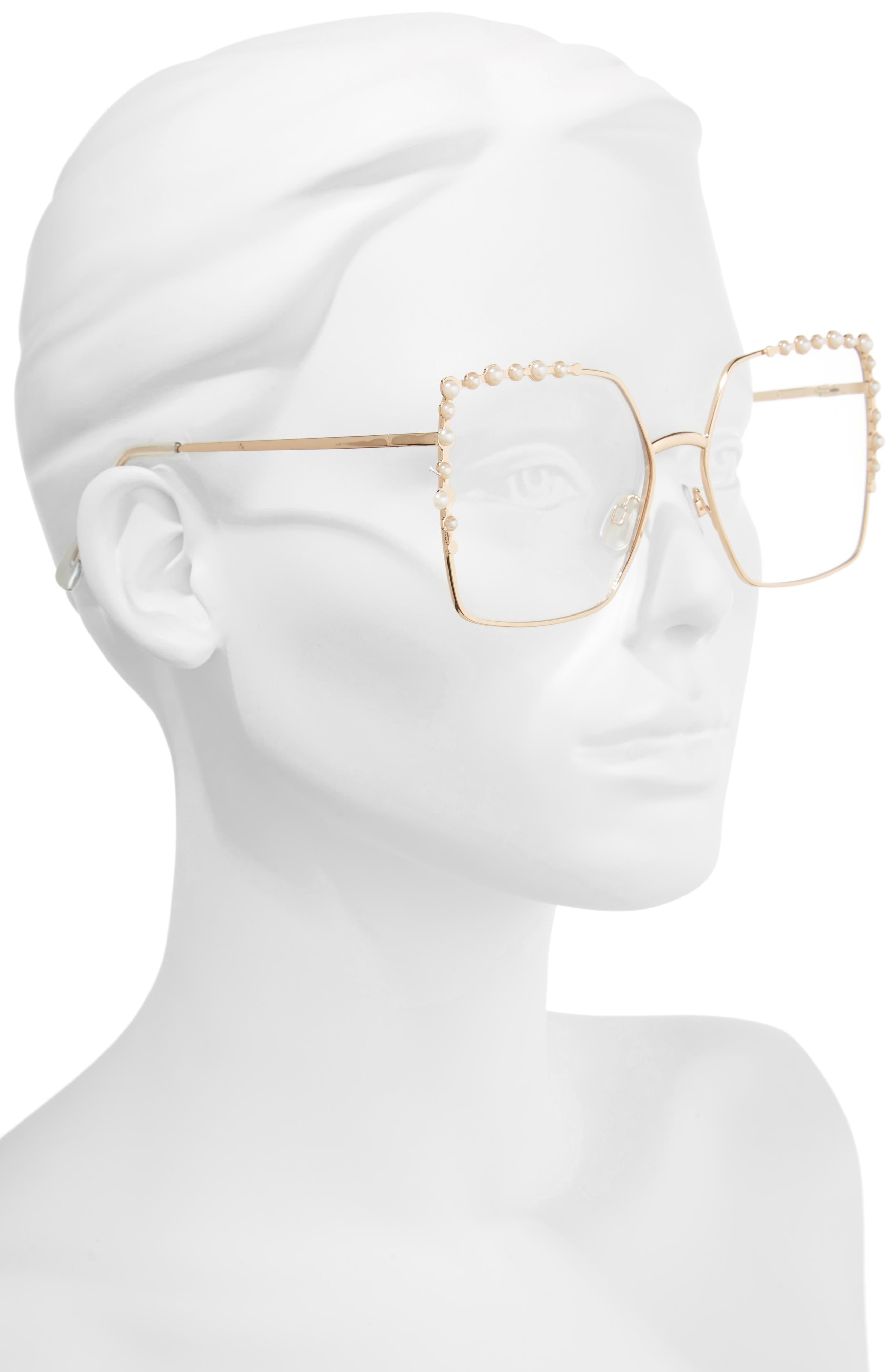 63mm Imitation Pearl Square Fashion Glasses,                             Alternate thumbnail 2, color,                             Gold/ Pearl