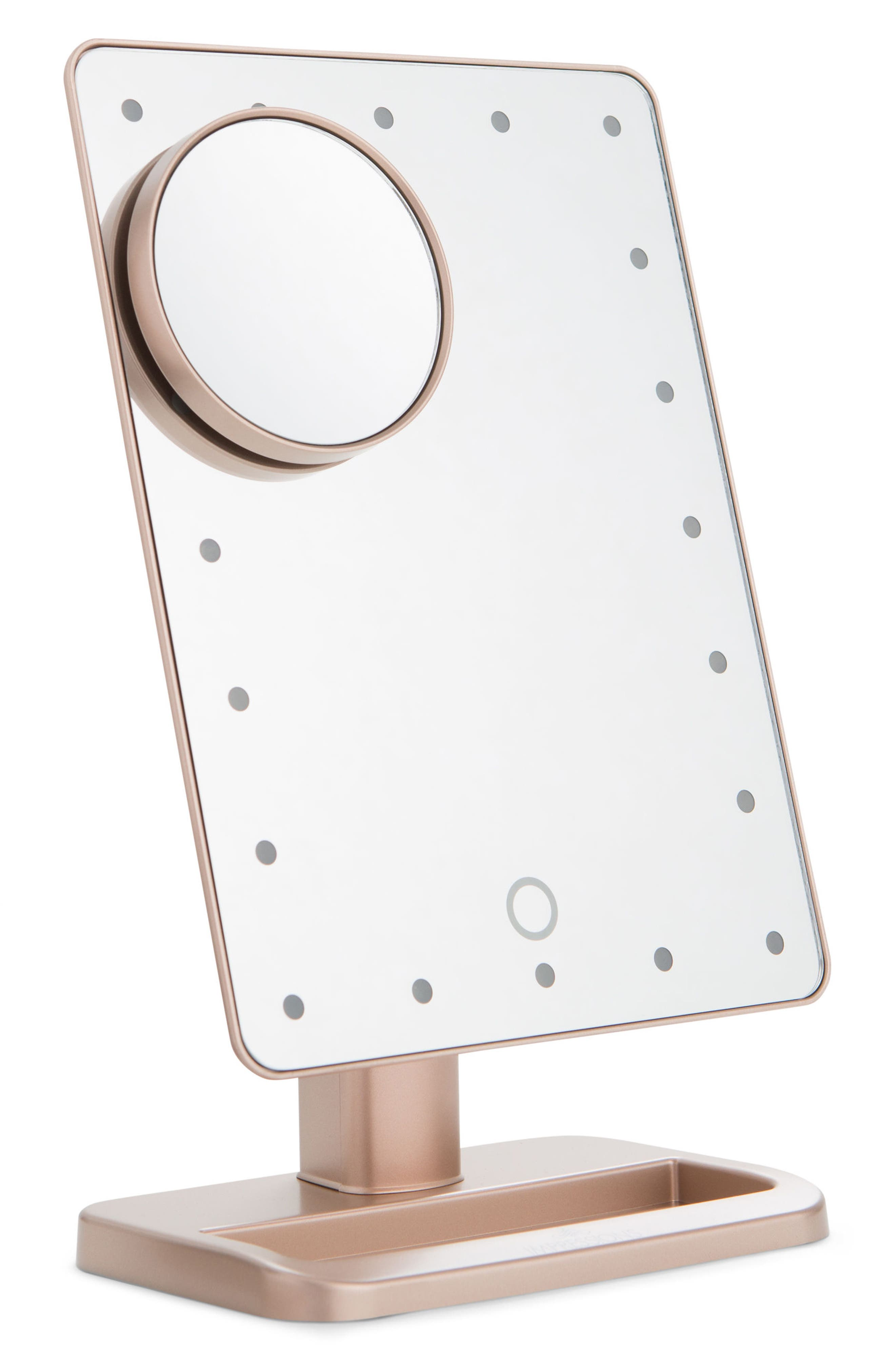 Touch XL Dimmable LED Makeup Mirror with Removable 5x Mirror,                             Main thumbnail 1, color,                             Rose Gold