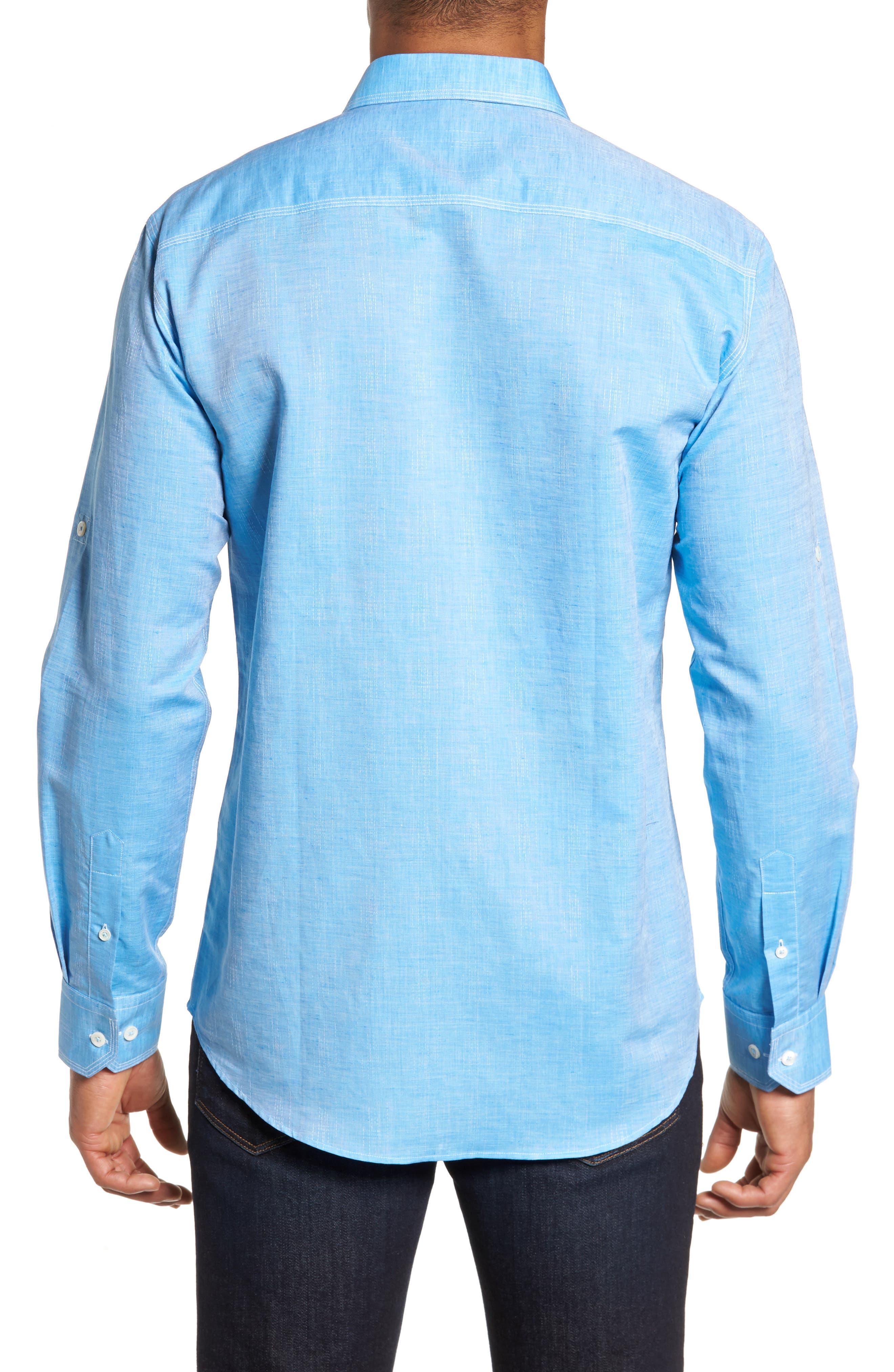 Shaped Fit Sport Shirt,                             Alternate thumbnail 2, color,                             Turquoise