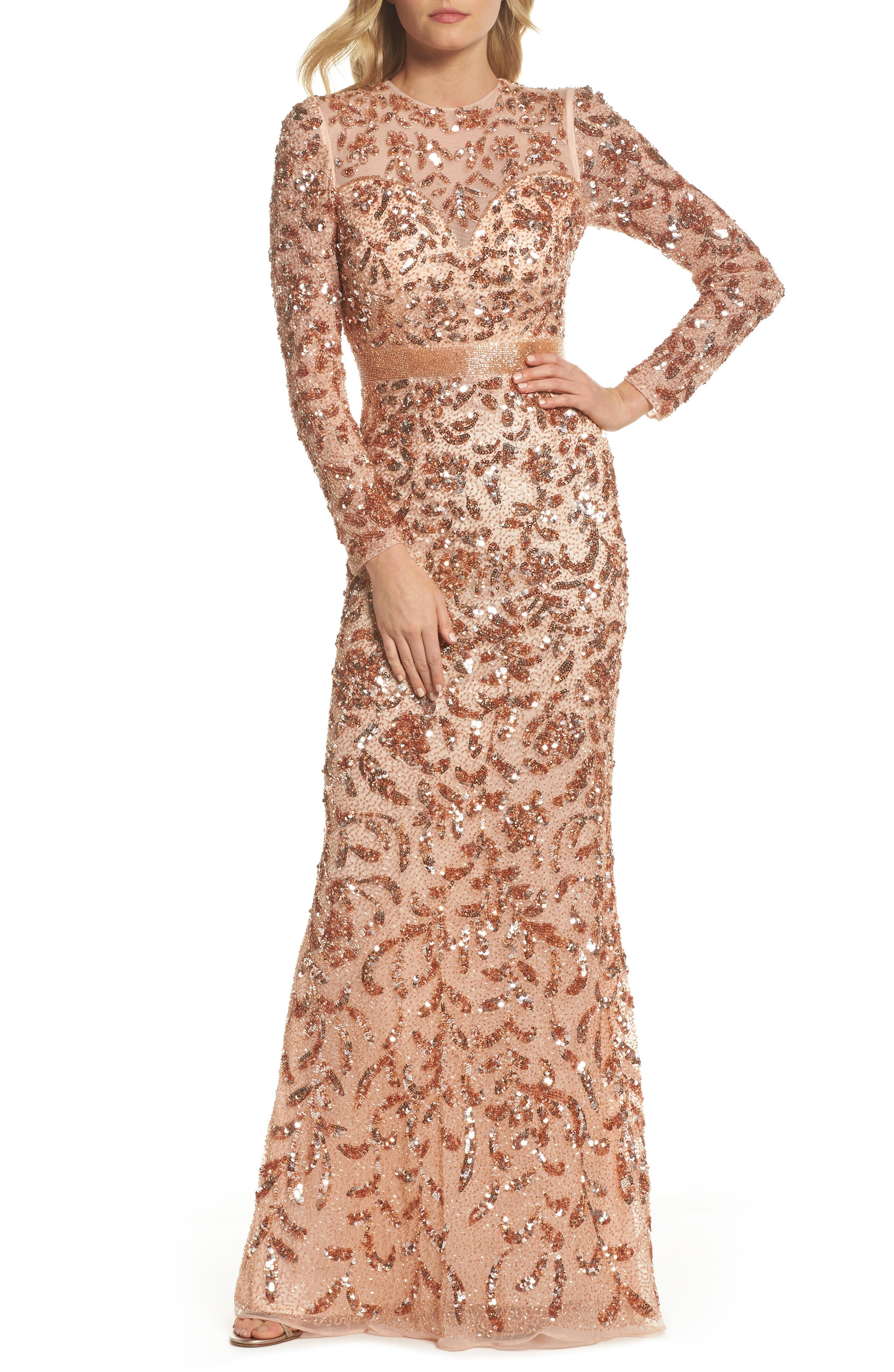 Beaded Gown,                             Main thumbnail 1, color,                             Rose Gold