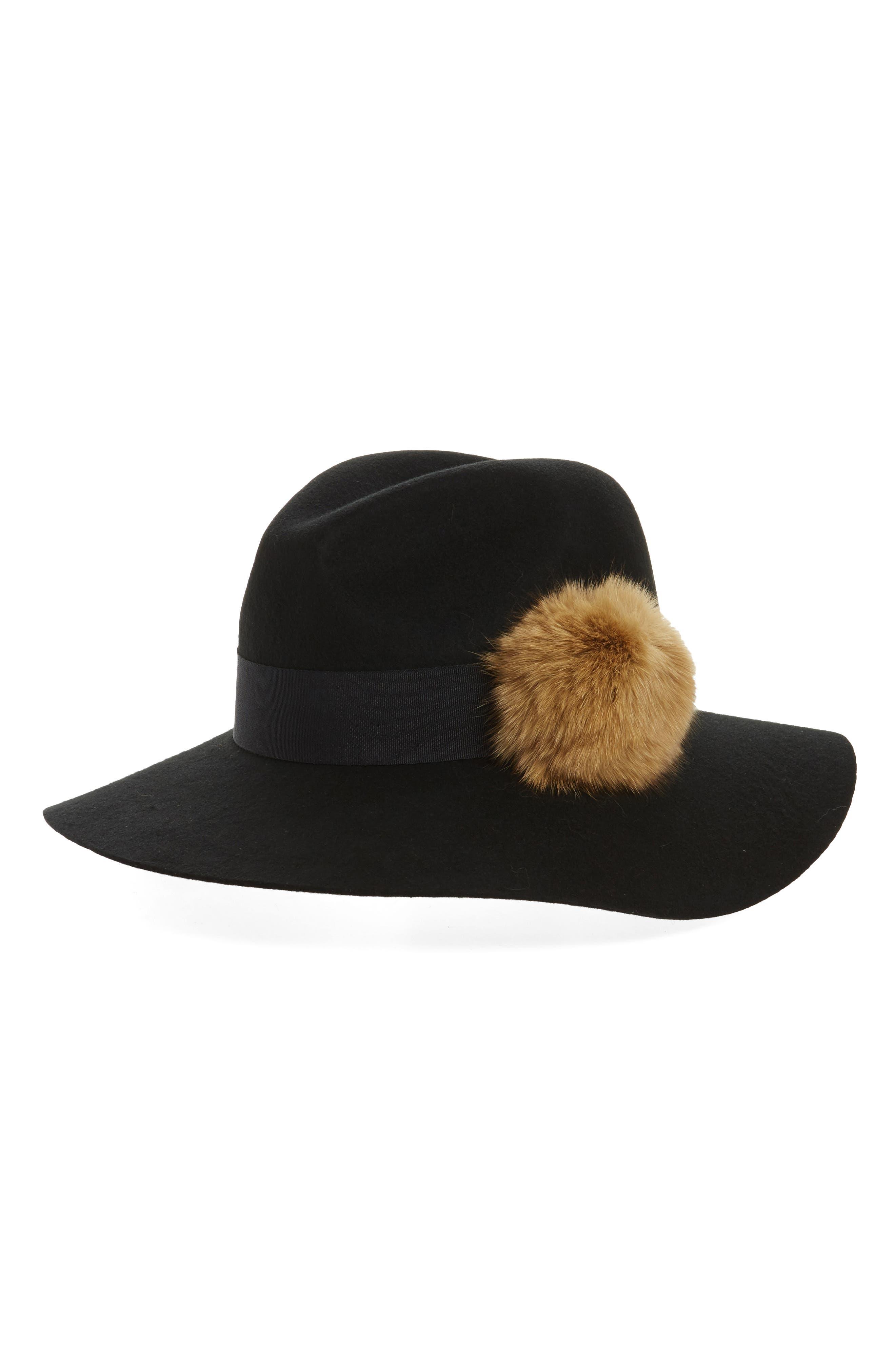 Paris Genuine Fox Fur Trim Fedora,                             Main thumbnail 1, color,                             Black