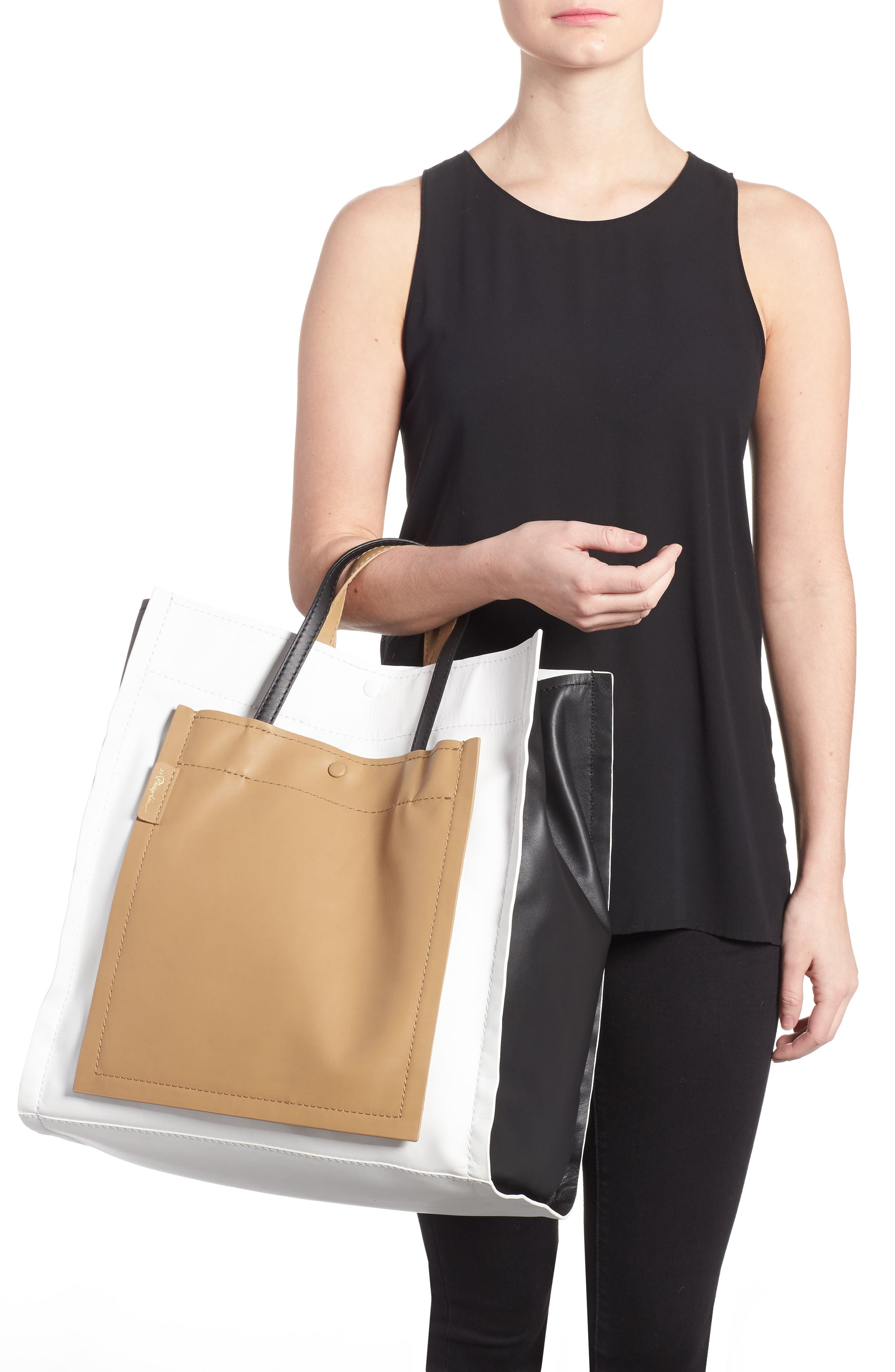 Leather Accordion Tote,                             Alternate thumbnail 2, color,                             Natural
