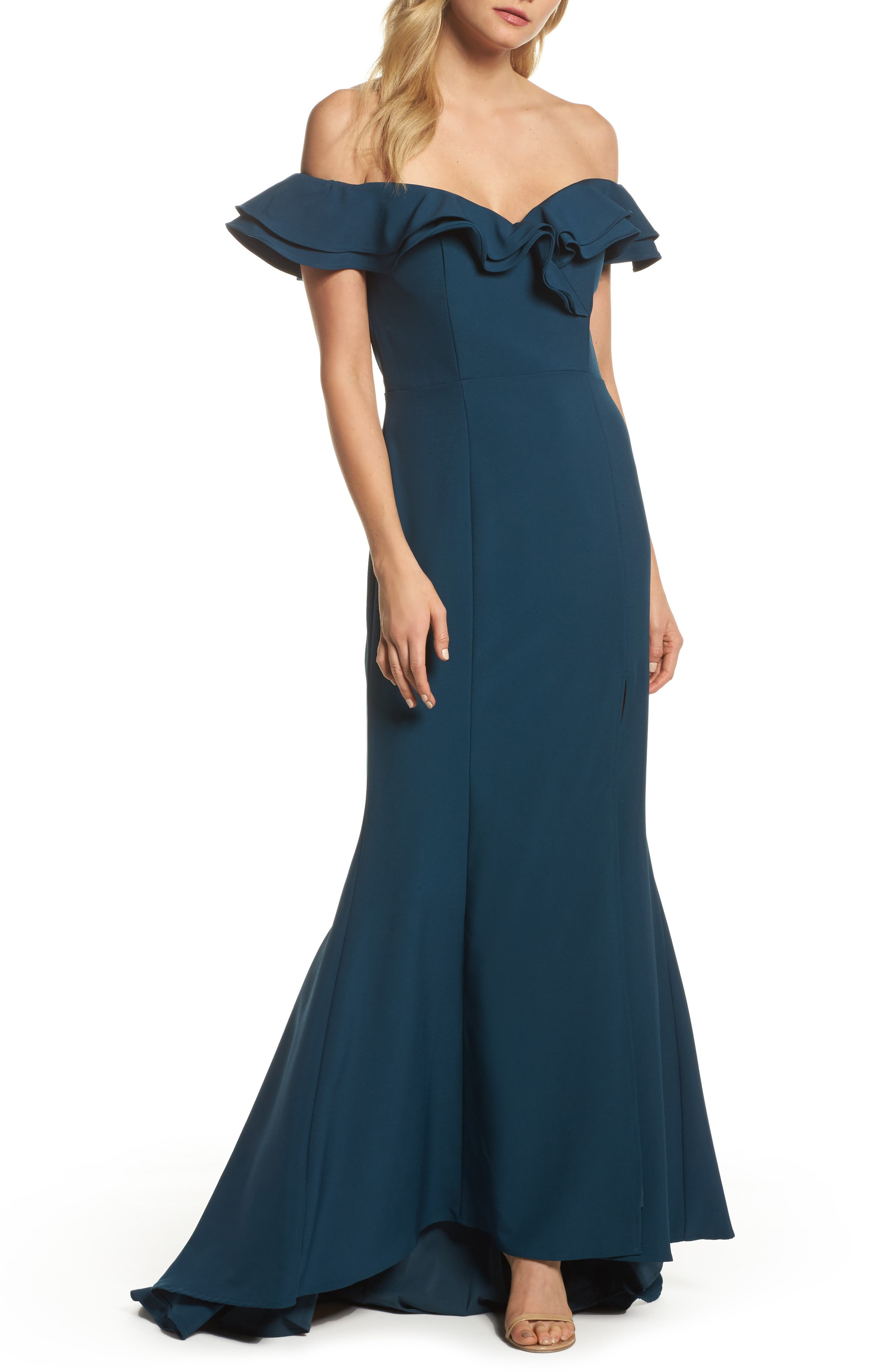 Yazmin Ruffle Off the Shoulder Gown,                         Main,                         color, Dark Blue