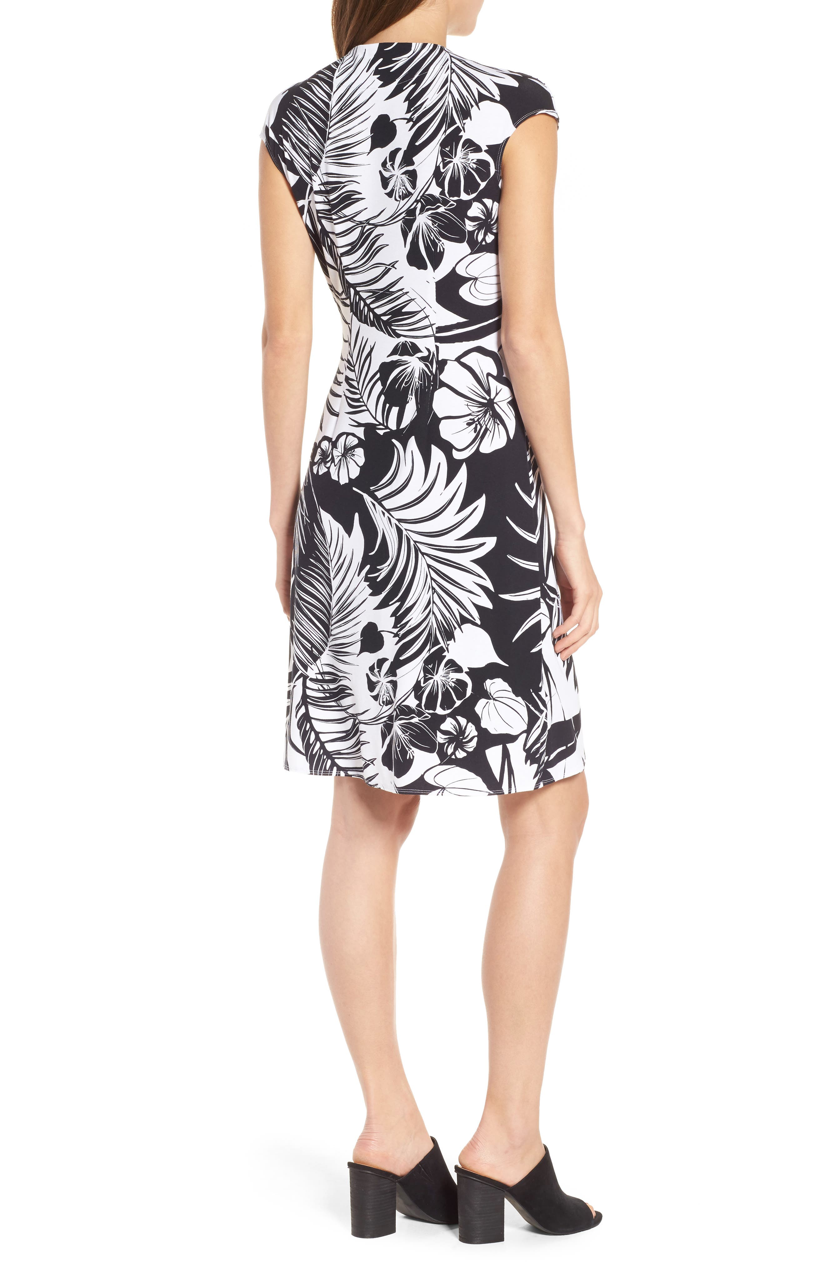 Let's Be Fronds Faux Wrap Dress,                             Alternate thumbnail 2, color,                             Black
