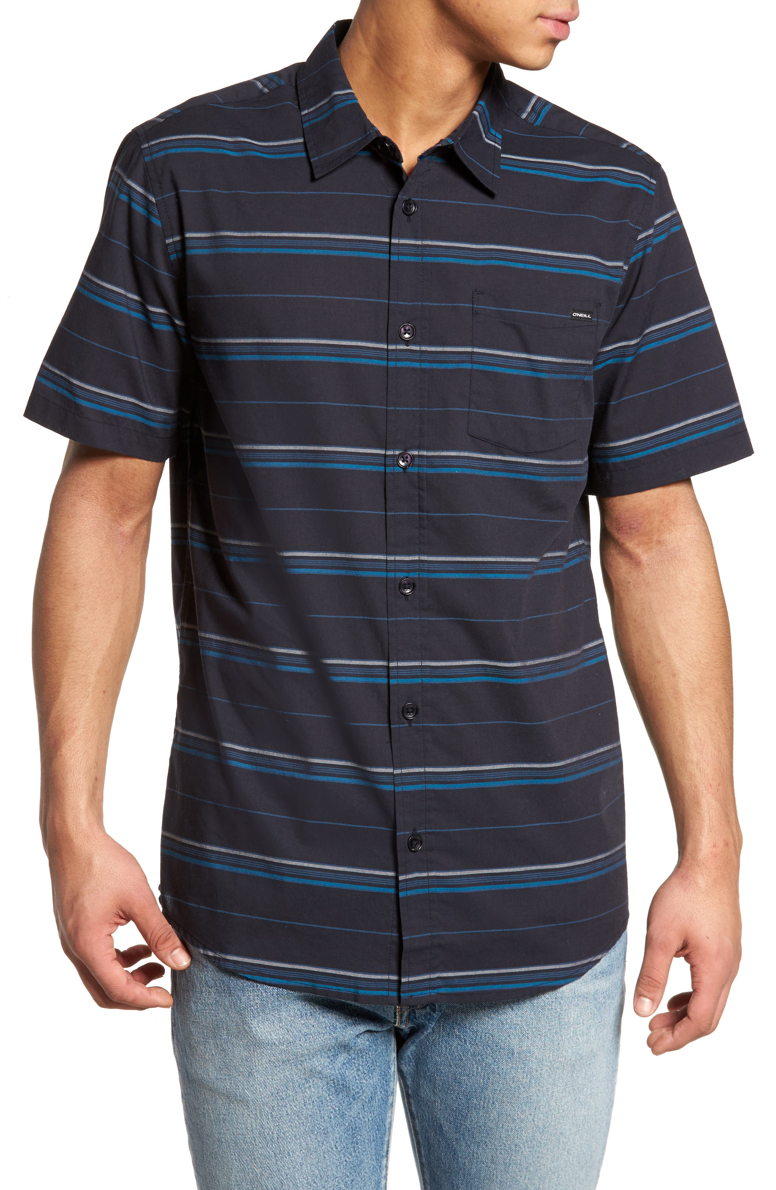 Striped Woven Shirt,                         Main,                         color, Navy