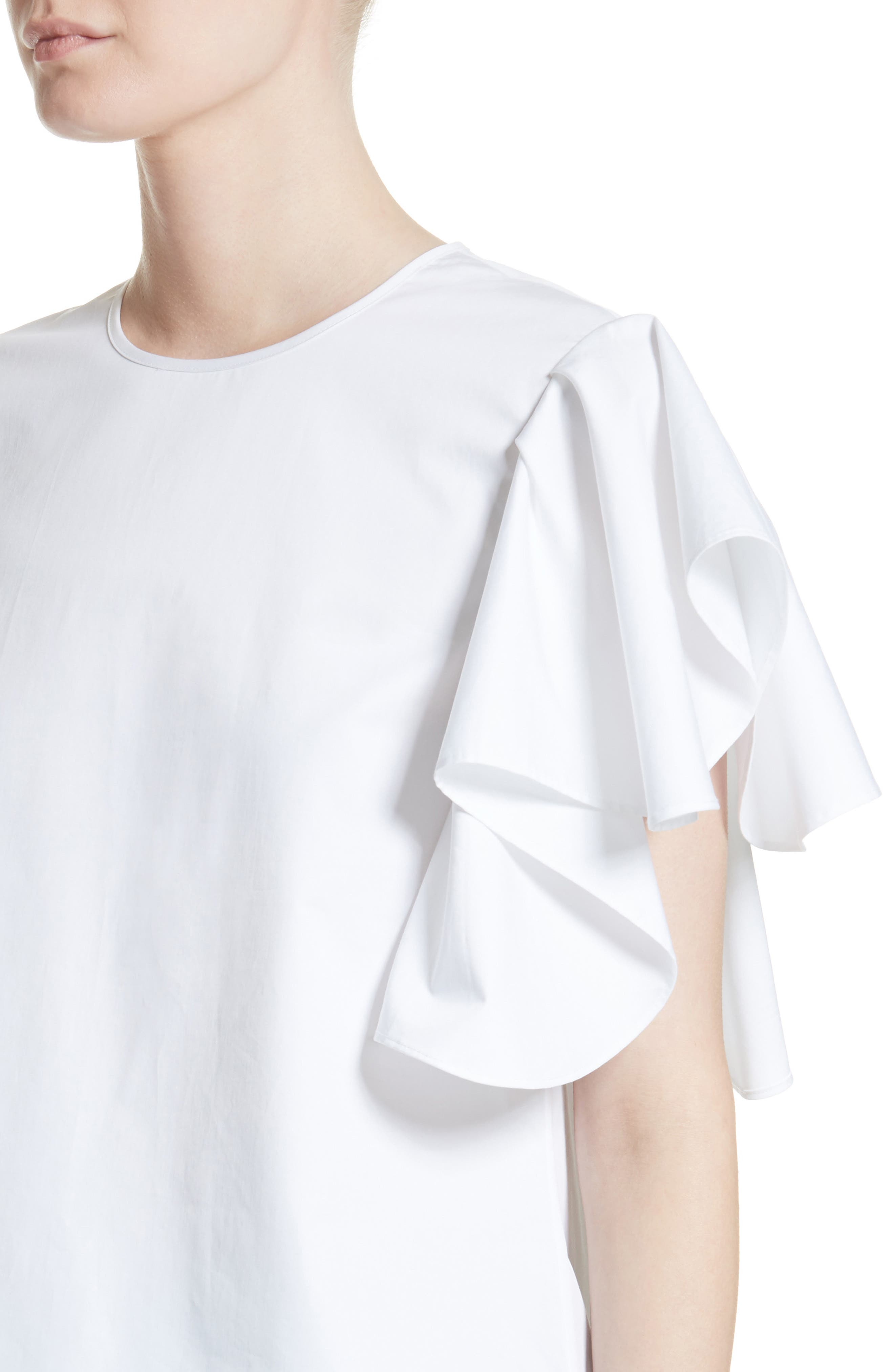 Alternate Image 4  - Co Ruffle Sleeve Cotton Poplin Top