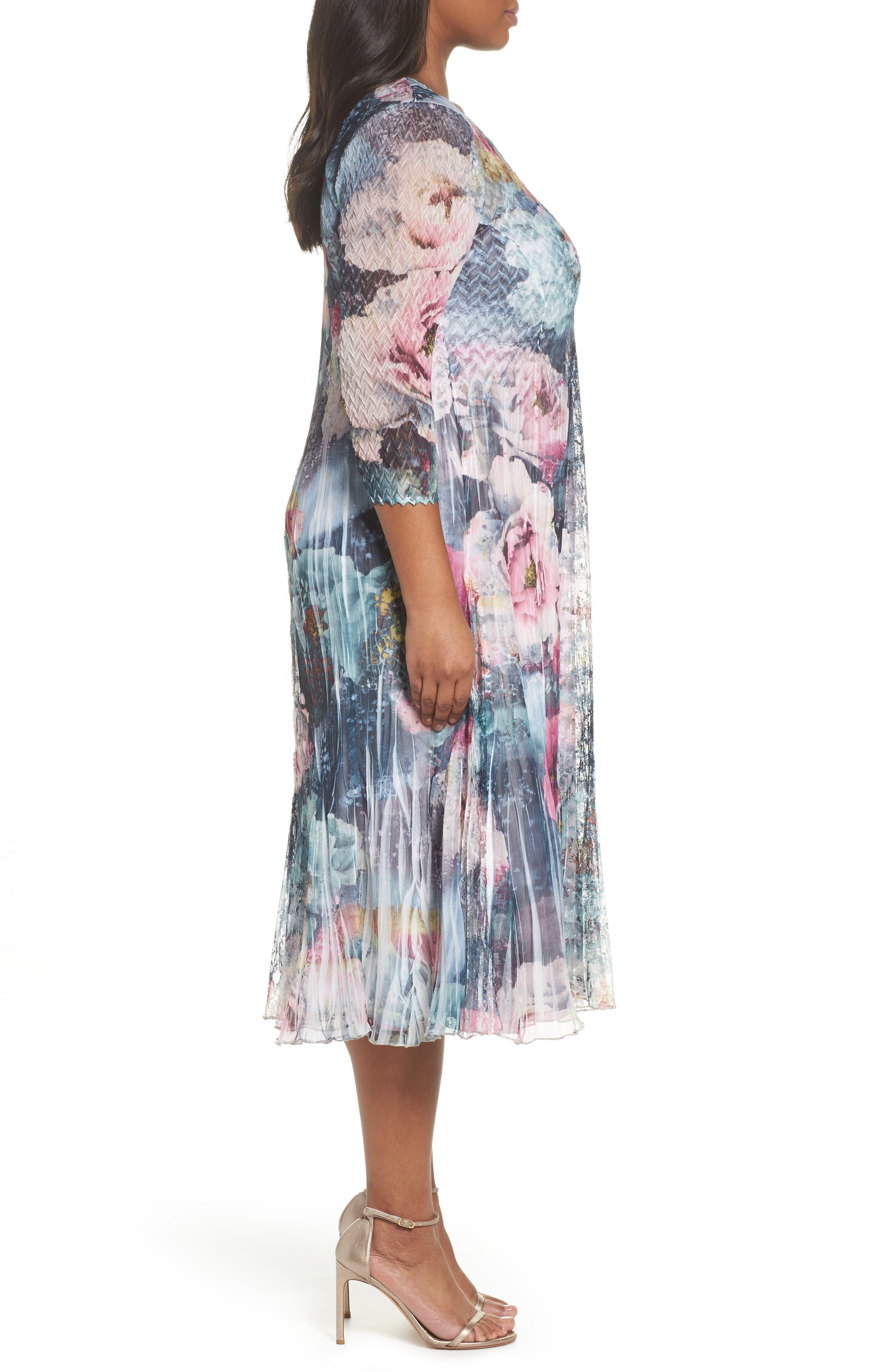 Dress Floral Chiffon & Lace Dress,                             Alternate thumbnail 3, color,                             Rapture Rose