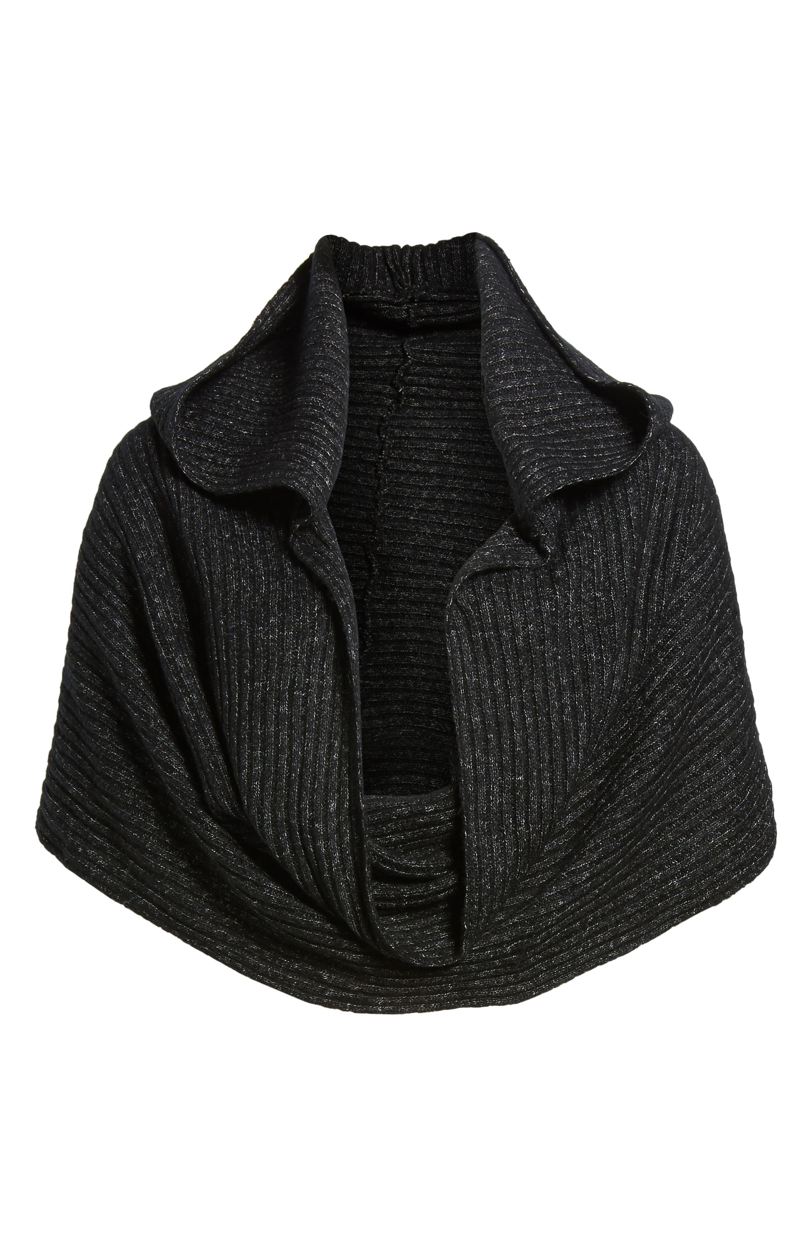 Bottom Line Hooded Rib Knit Wrap,                             Alternate thumbnail 5, color,                             Black