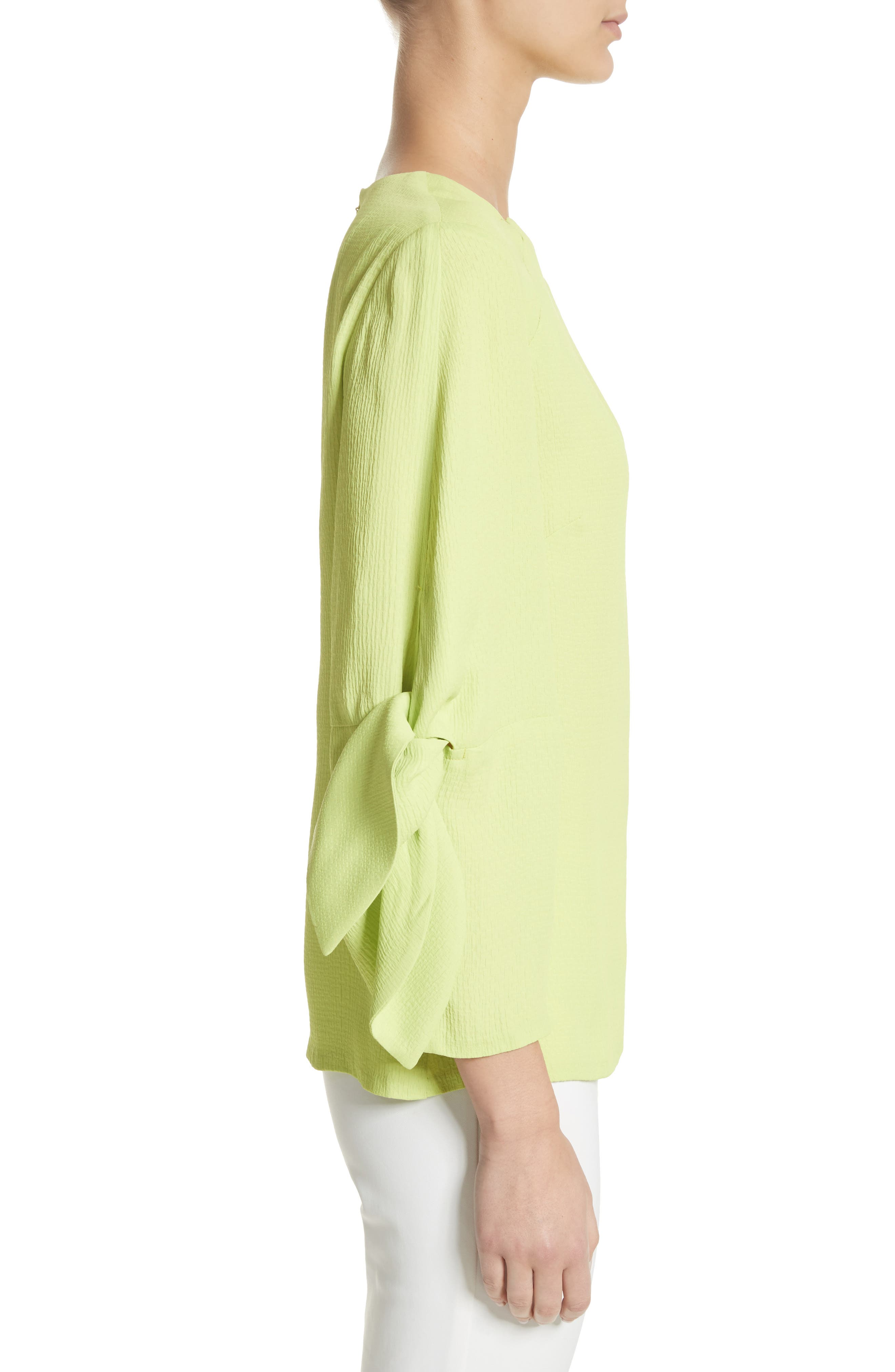 Tie Sleeve Top,                             Alternate thumbnail 3, color,                             Lime