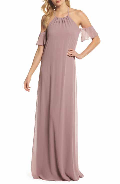 Nouvelle Am Ruffle Sleeve Halter Gown