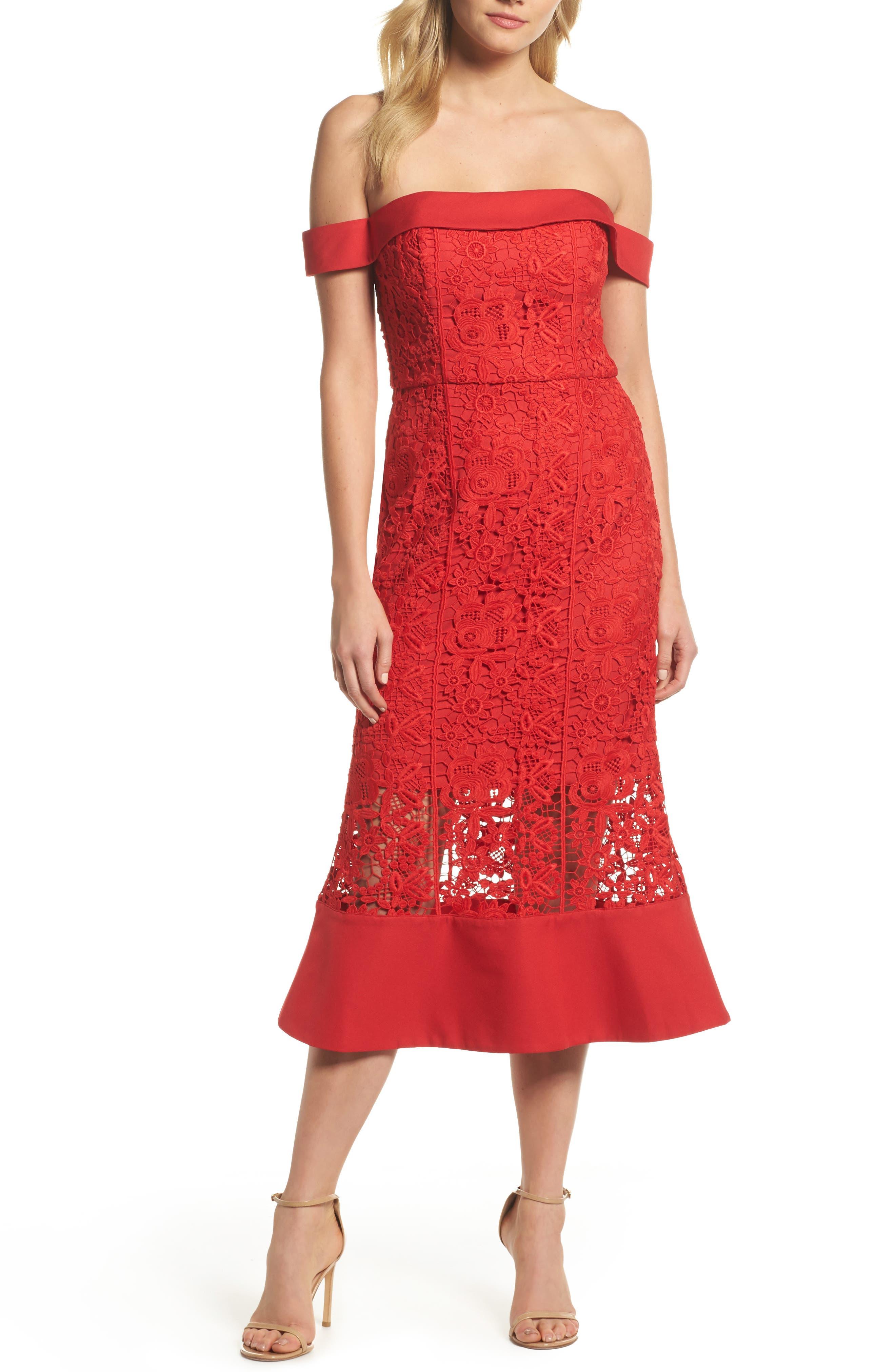 Talia Lace Off the Shoulder Midi Dress,                             Main thumbnail 1, color,                             Red