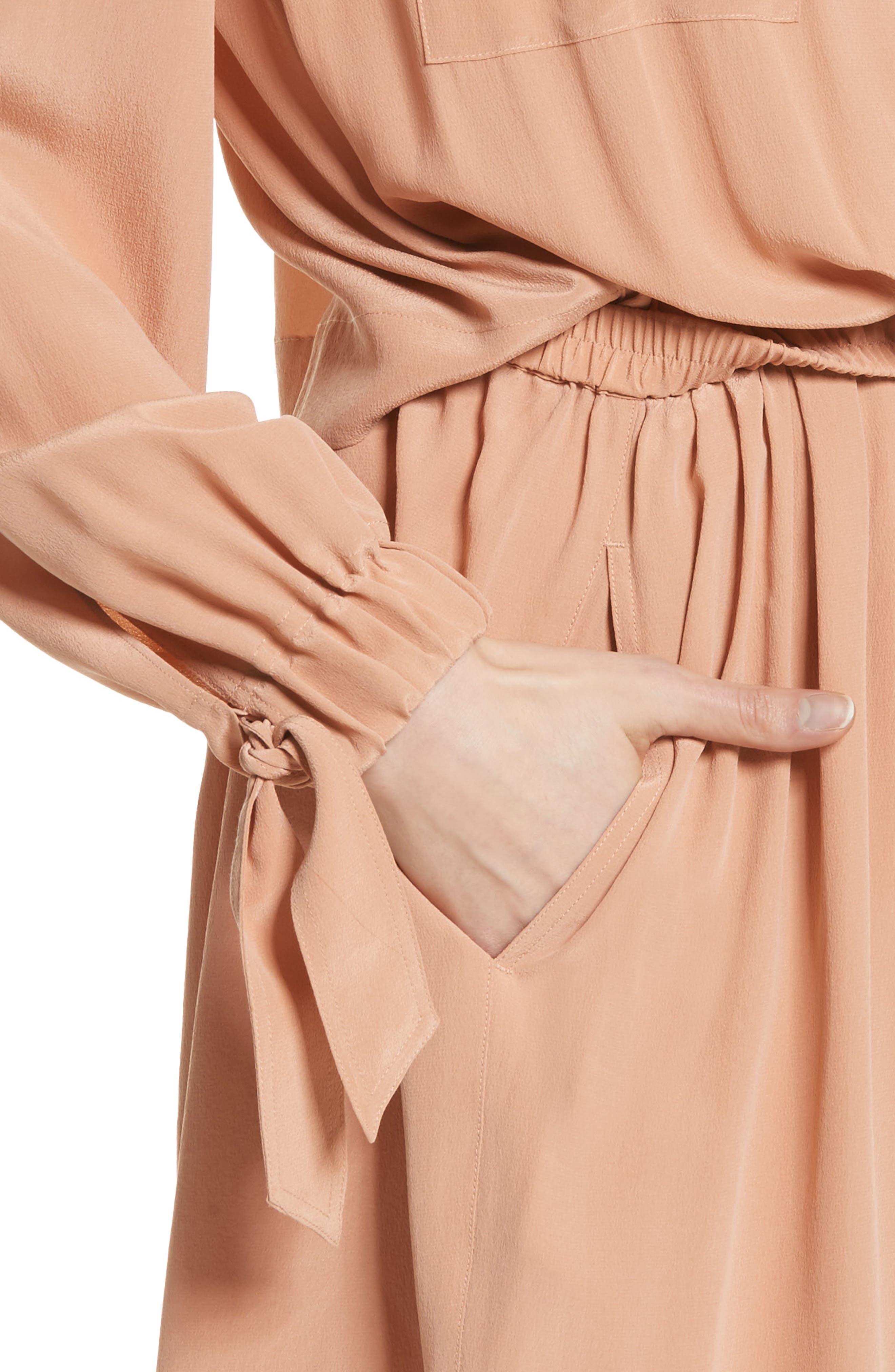 Silk Slit Back Shirtdress,                             Alternate thumbnail 5, color,                             Blush