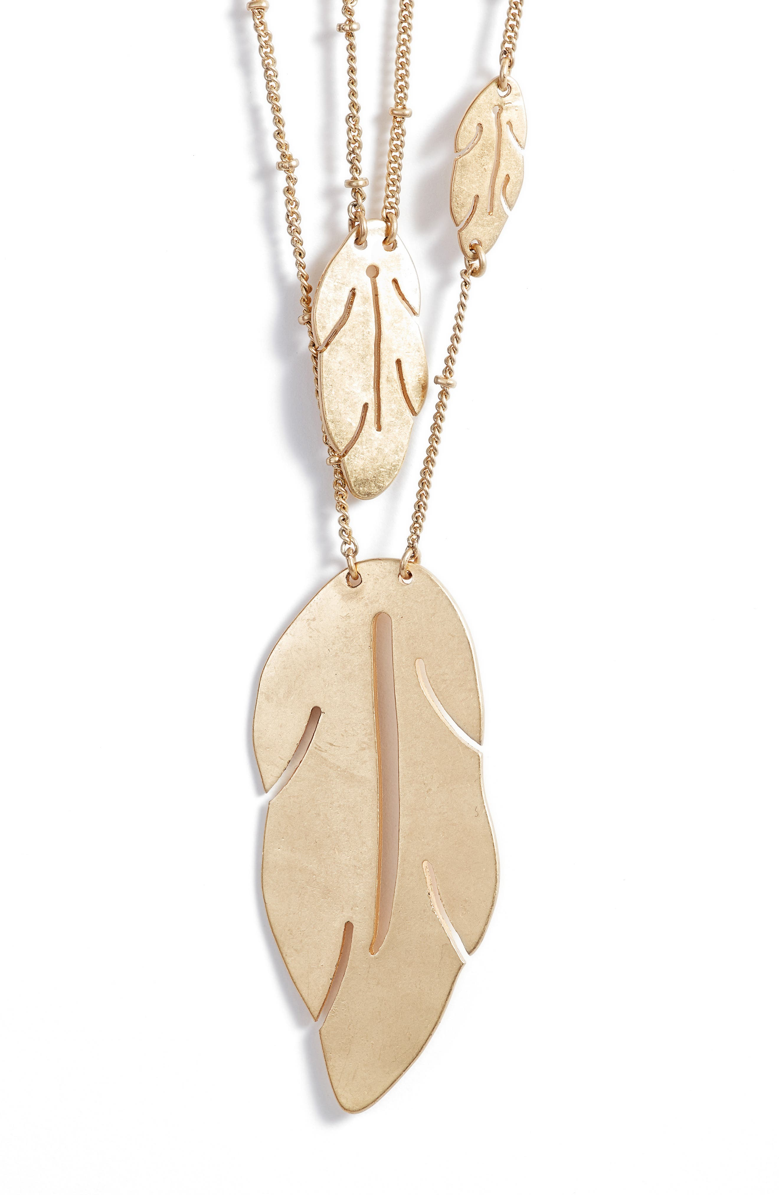 Layered Leaf Necklace,                             Alternate thumbnail 2, color,                             Gold